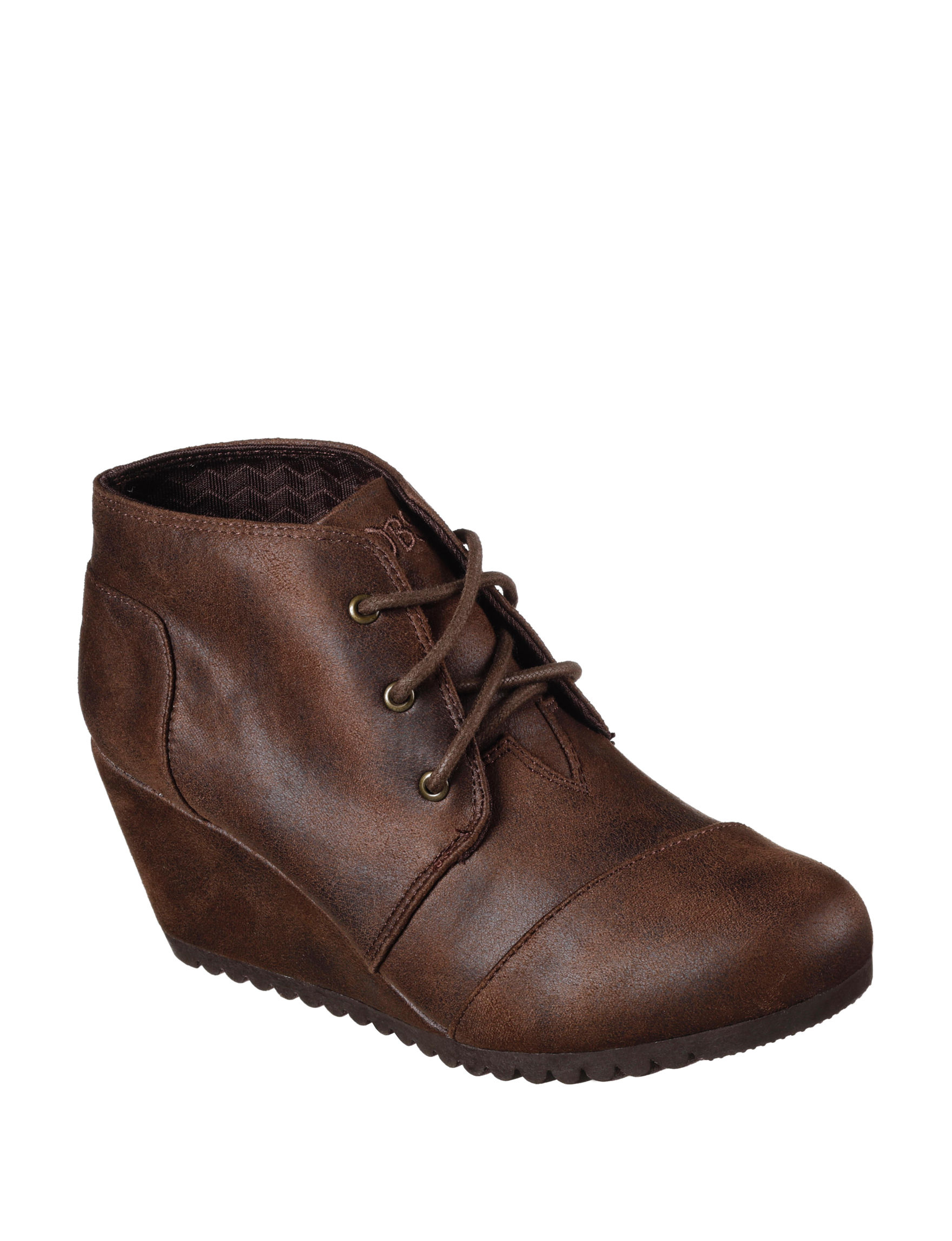 Skechers Brown Ankle Boots & Booties Wedge Boots