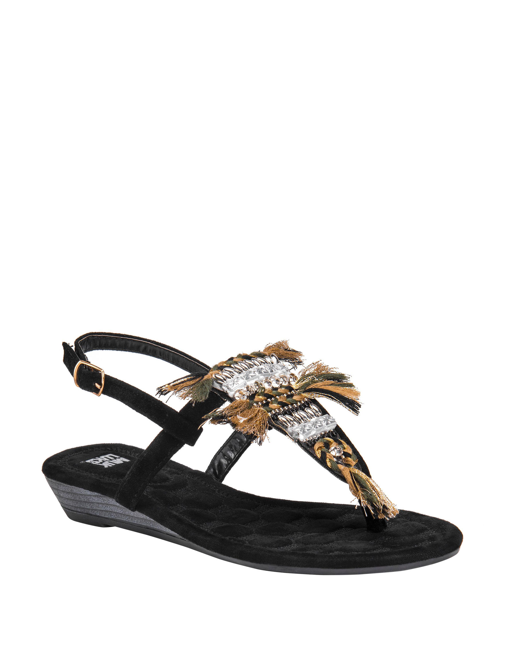 Muk Luks Black Wedge Sandals