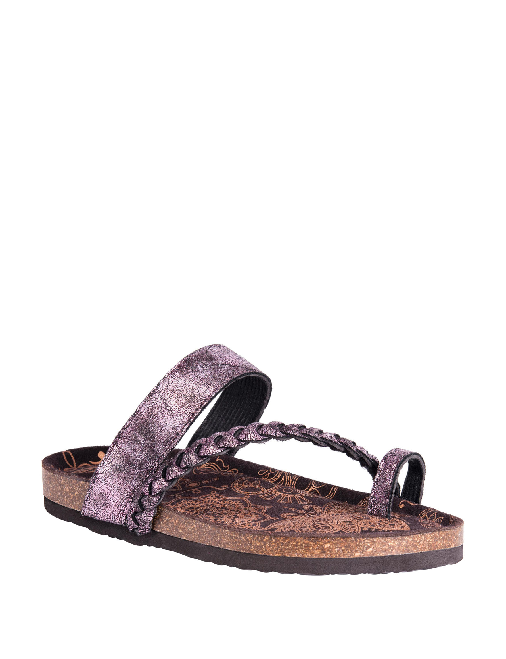Muk Luks Purple Flat Sandals Slide Sandals