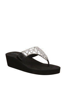 Olivia Miller Black Wedge Sandals