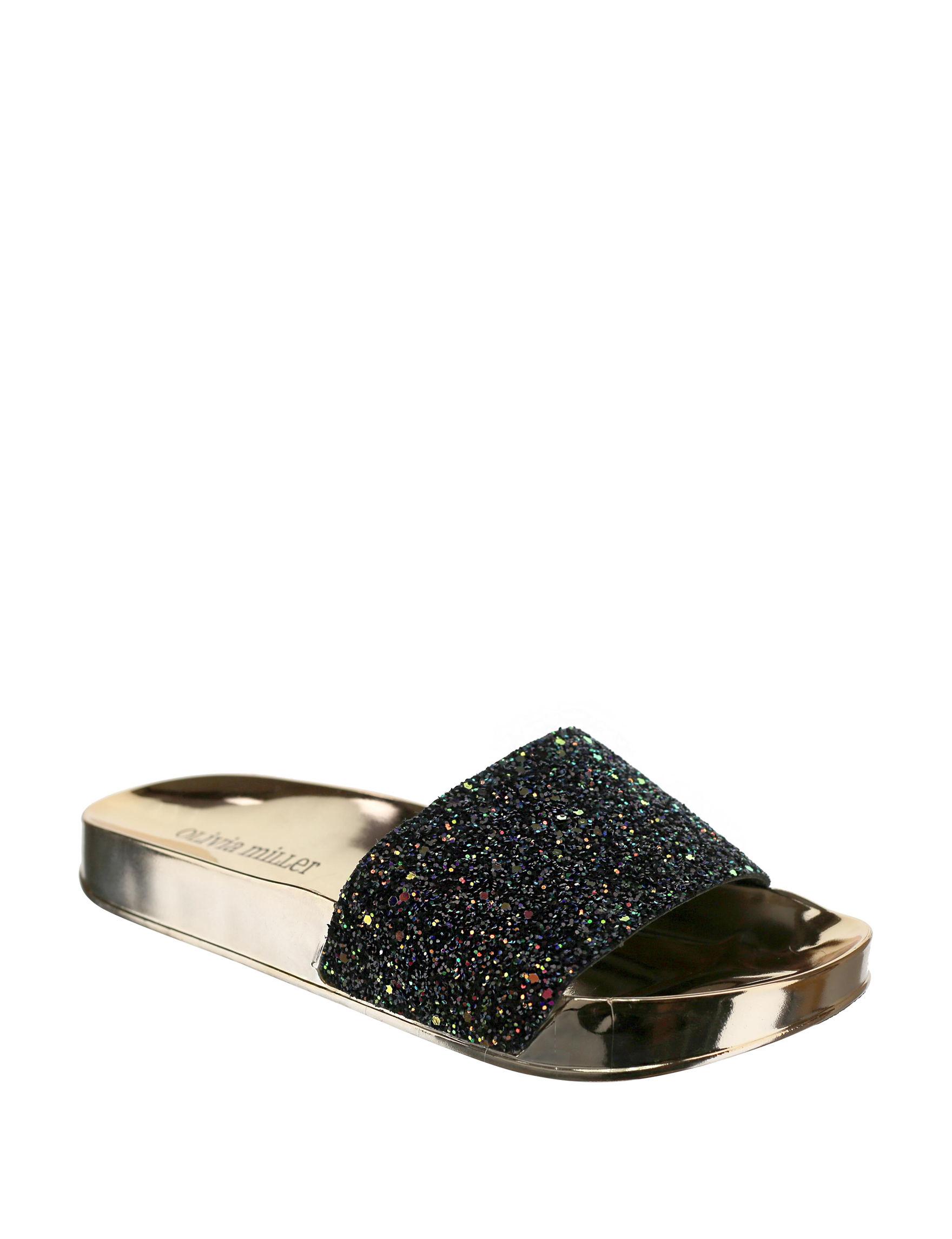 Olivia Miller Black Slide Sandals