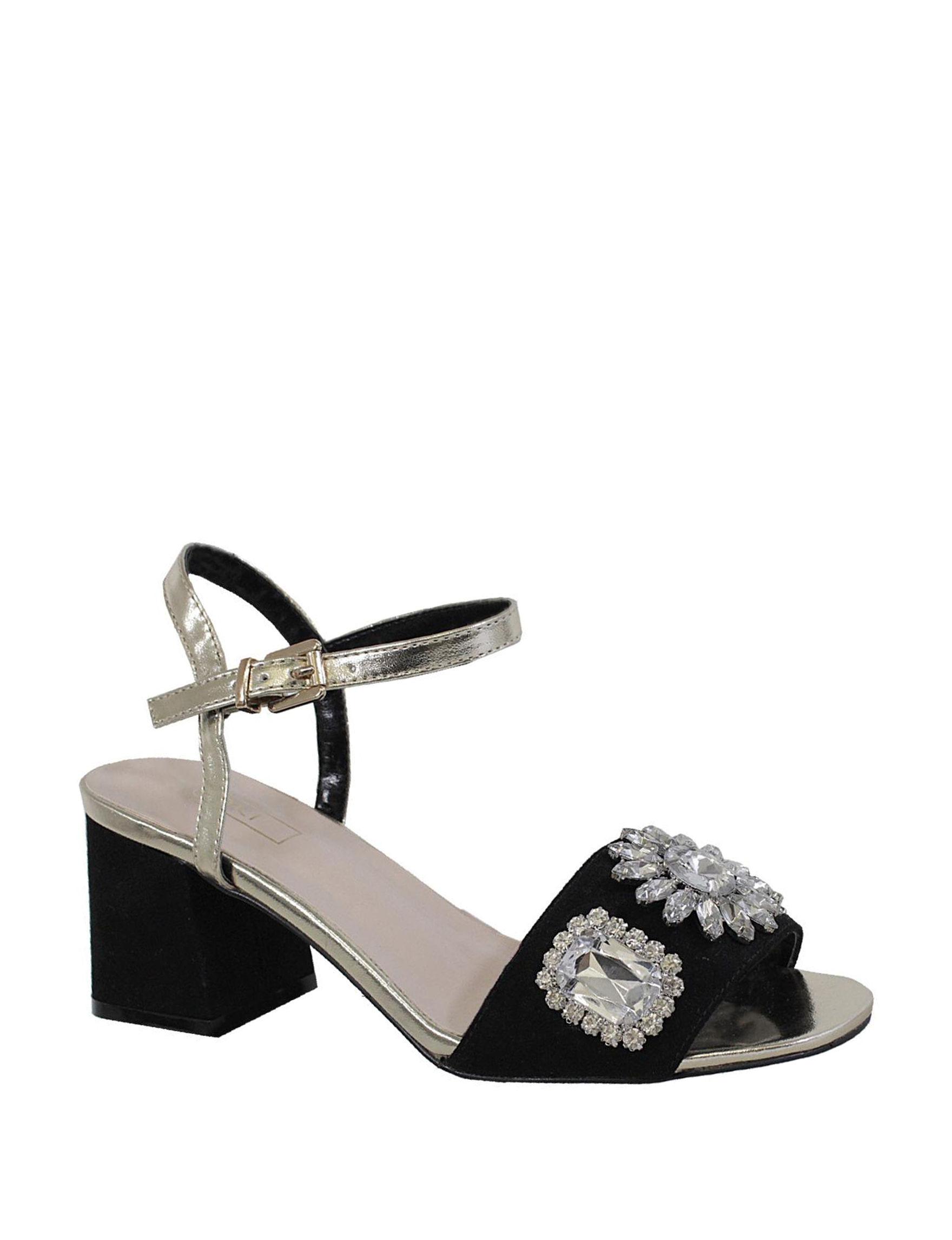 Yoki Black Heeled Sandals