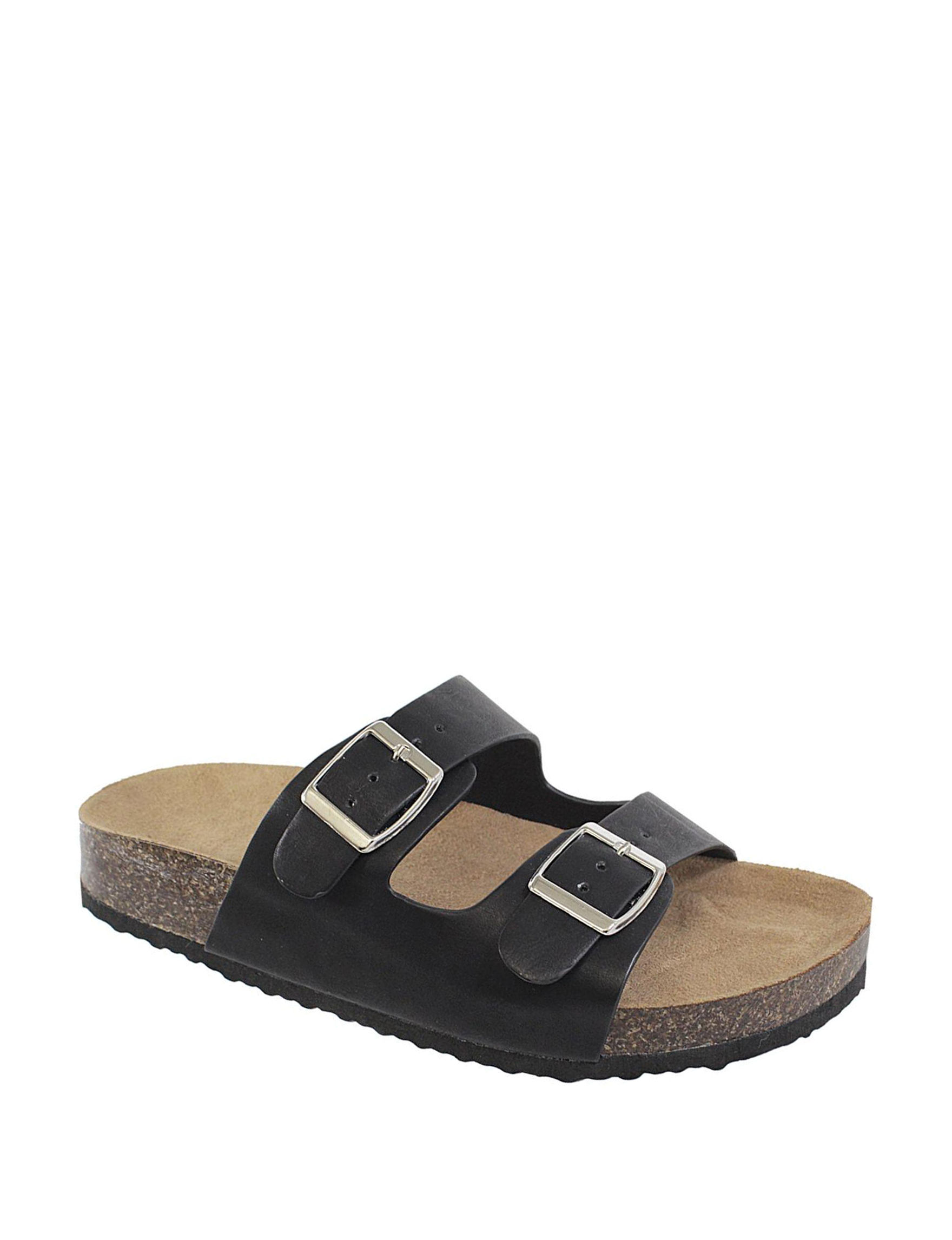 Yoki Black Slide Sandals