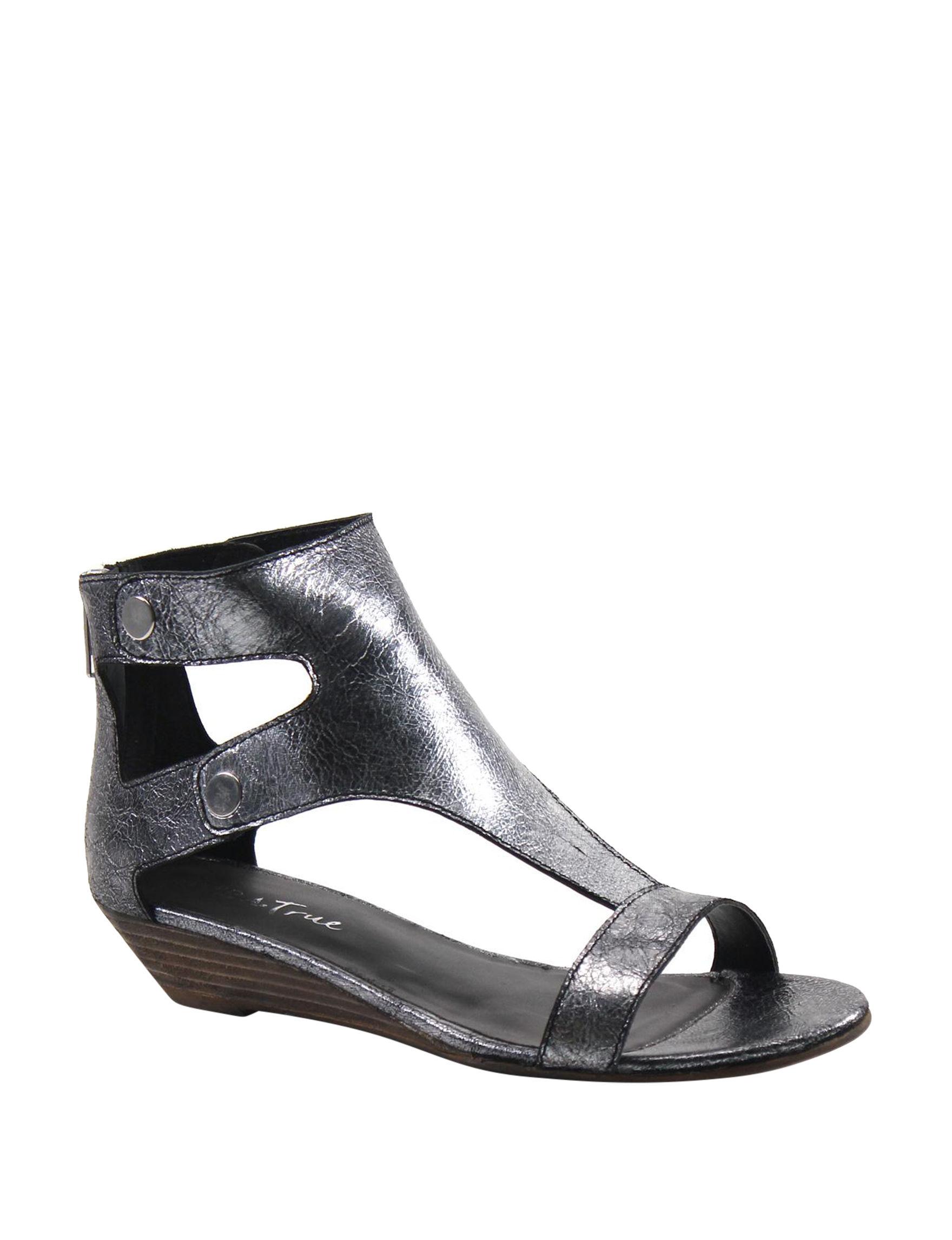 Diba True Pewter Wedge Sandals