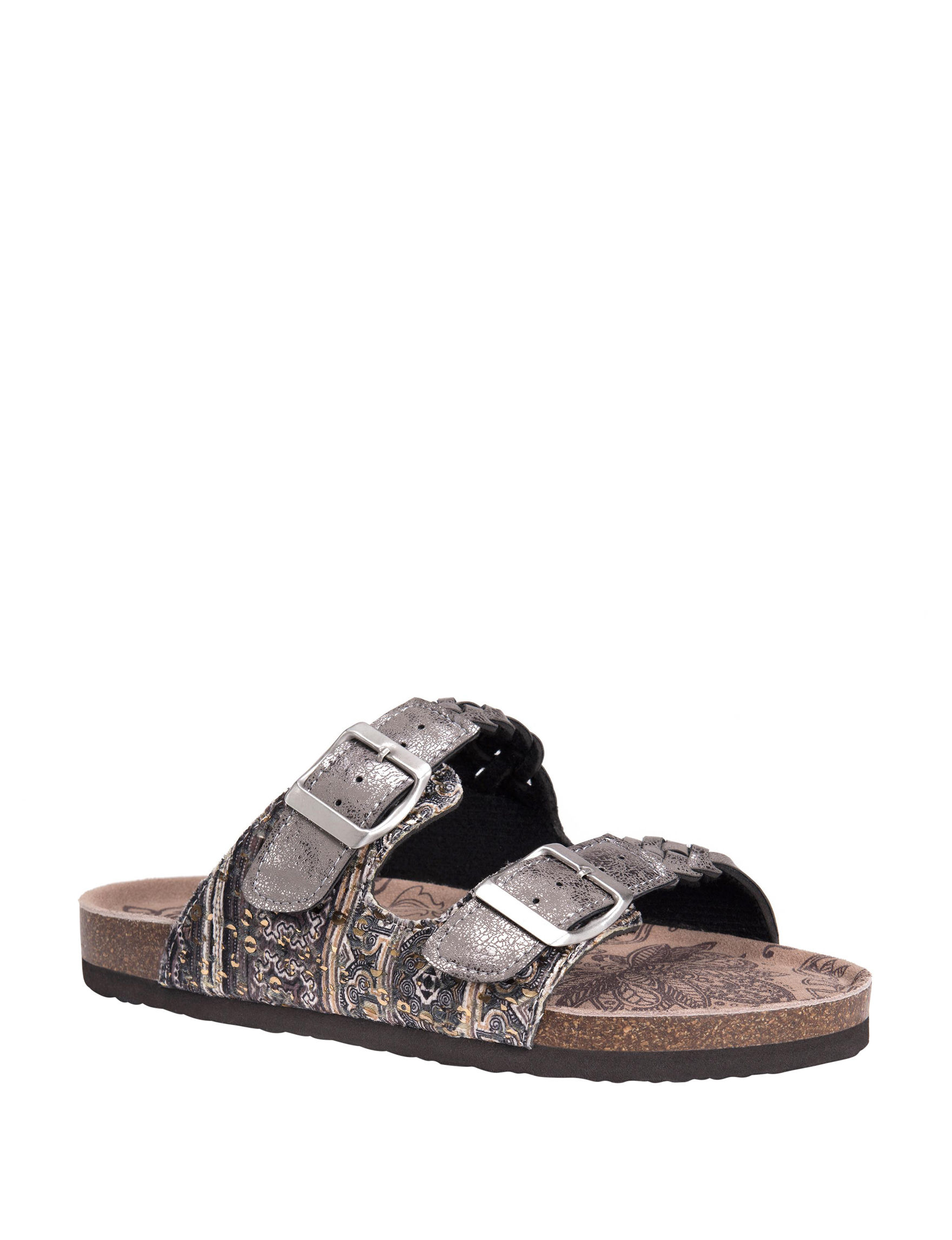 Muk Luks Silver Flat Sandals