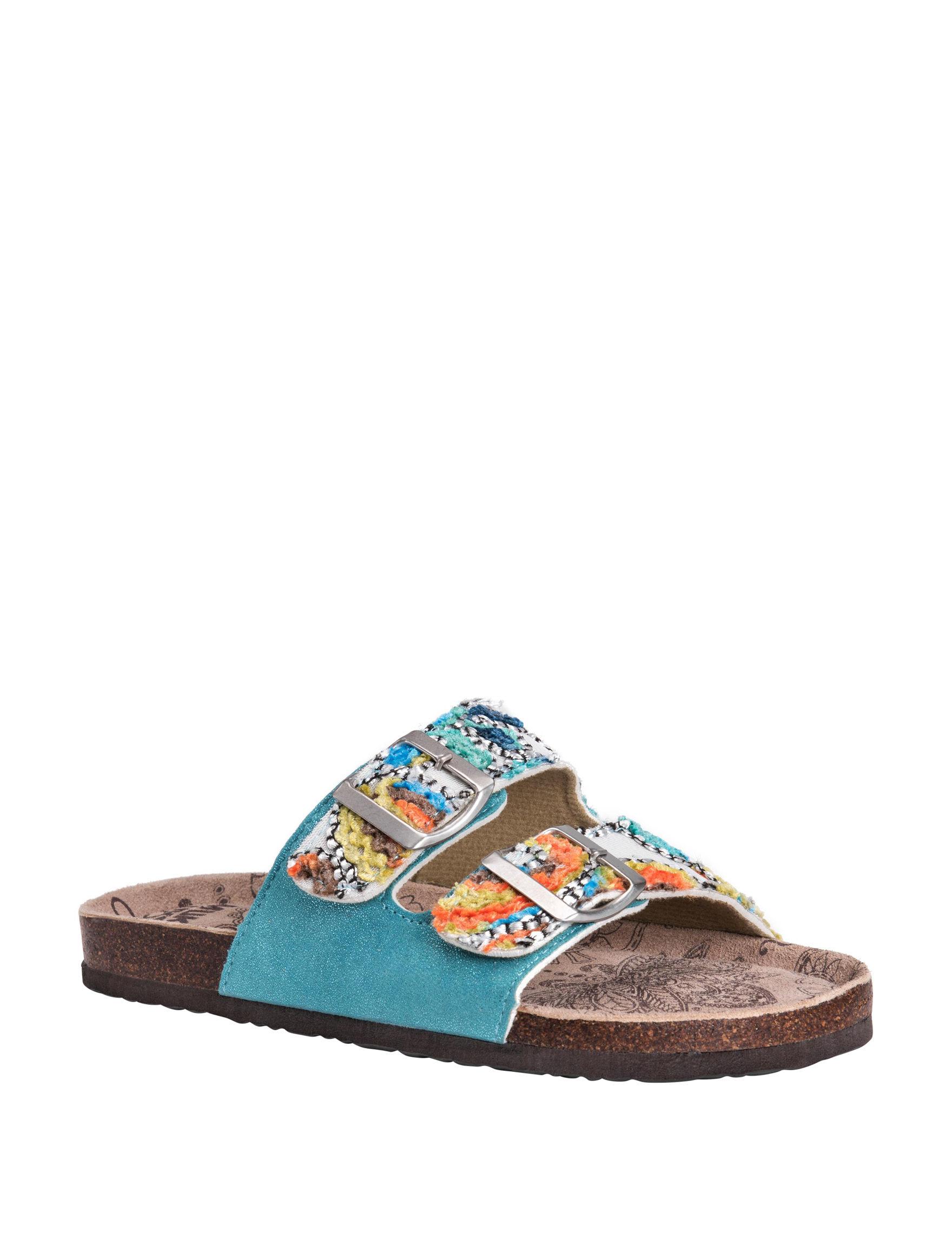 Muk Luks Teal Flat Sandals Slide Sandals