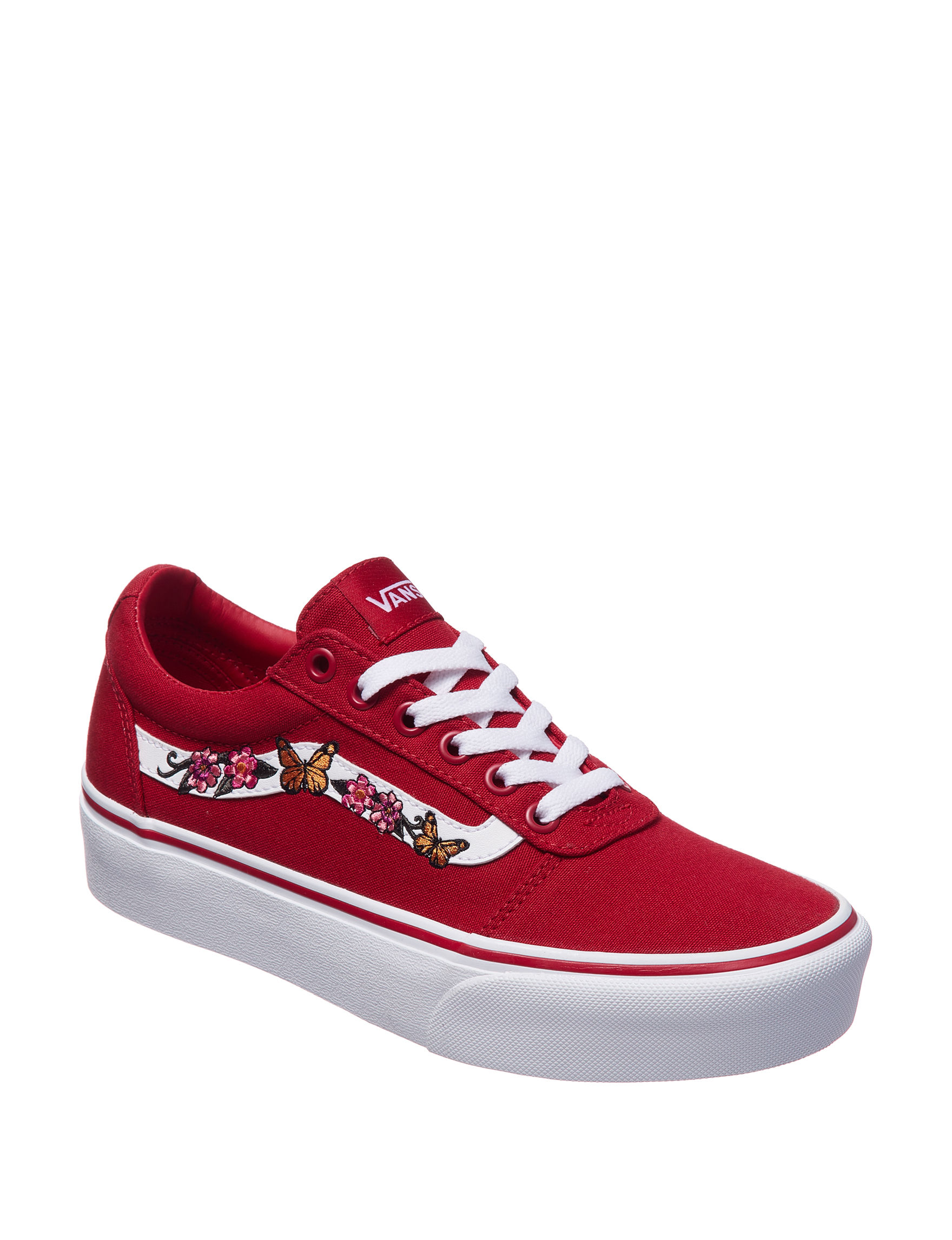 c782b3ca1512e8 Vans Women's Ward Floral Butterfly Platform Fashion Sneakers | Stage ...