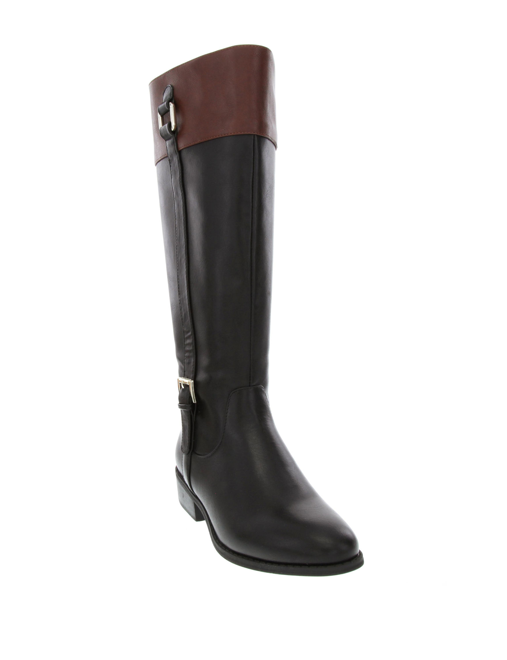 London Fog Two Tone Riding Boots Wide Calf