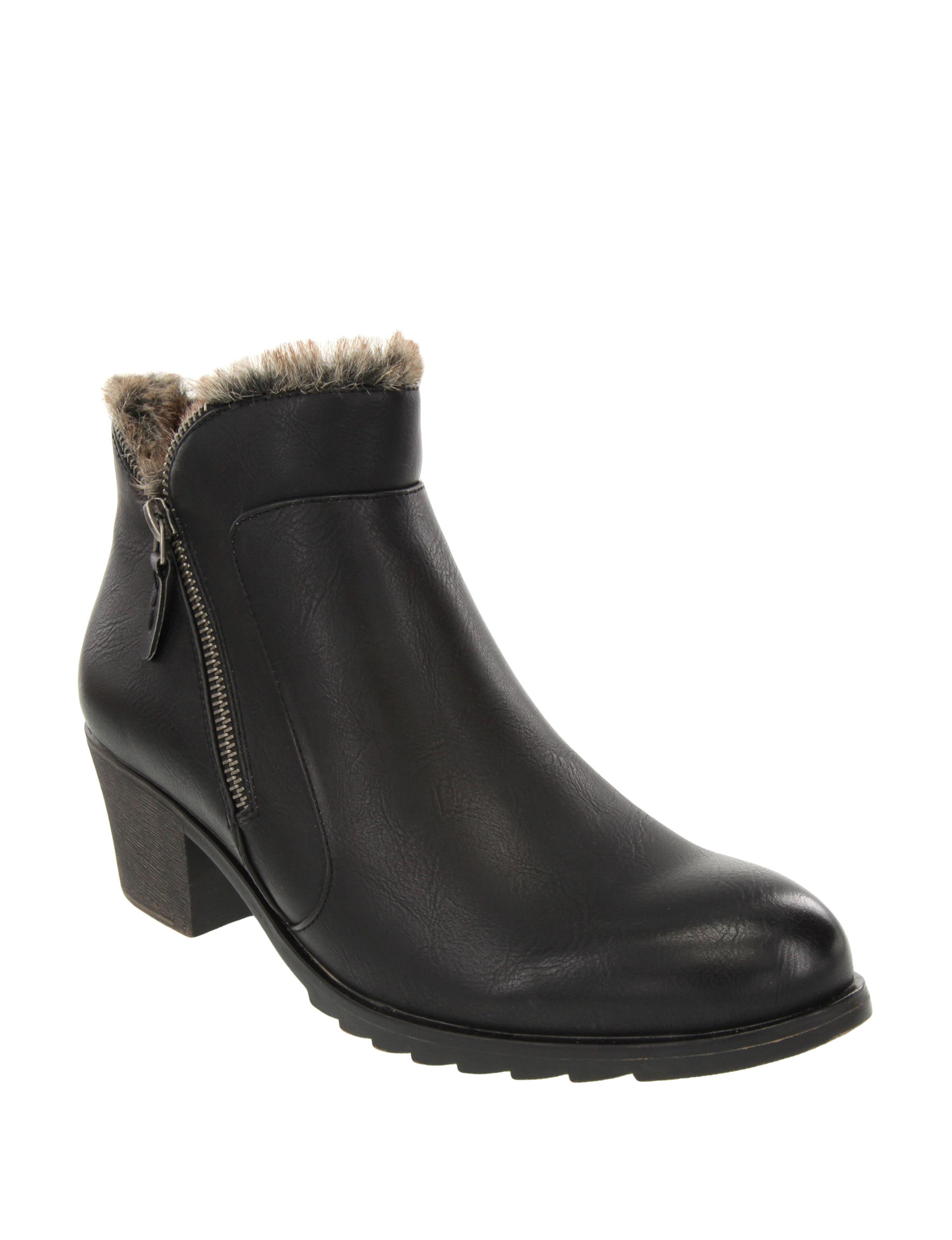 London Fog Black Ankle Boots & Booties Comfort