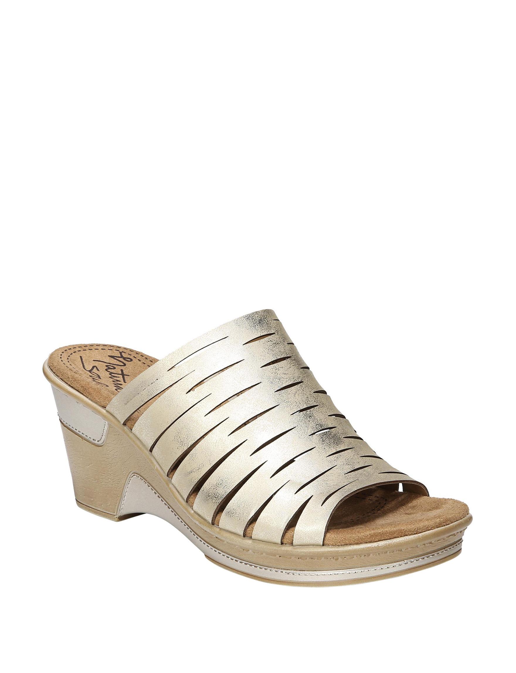 Natural Soul Gold Wedge Sandals