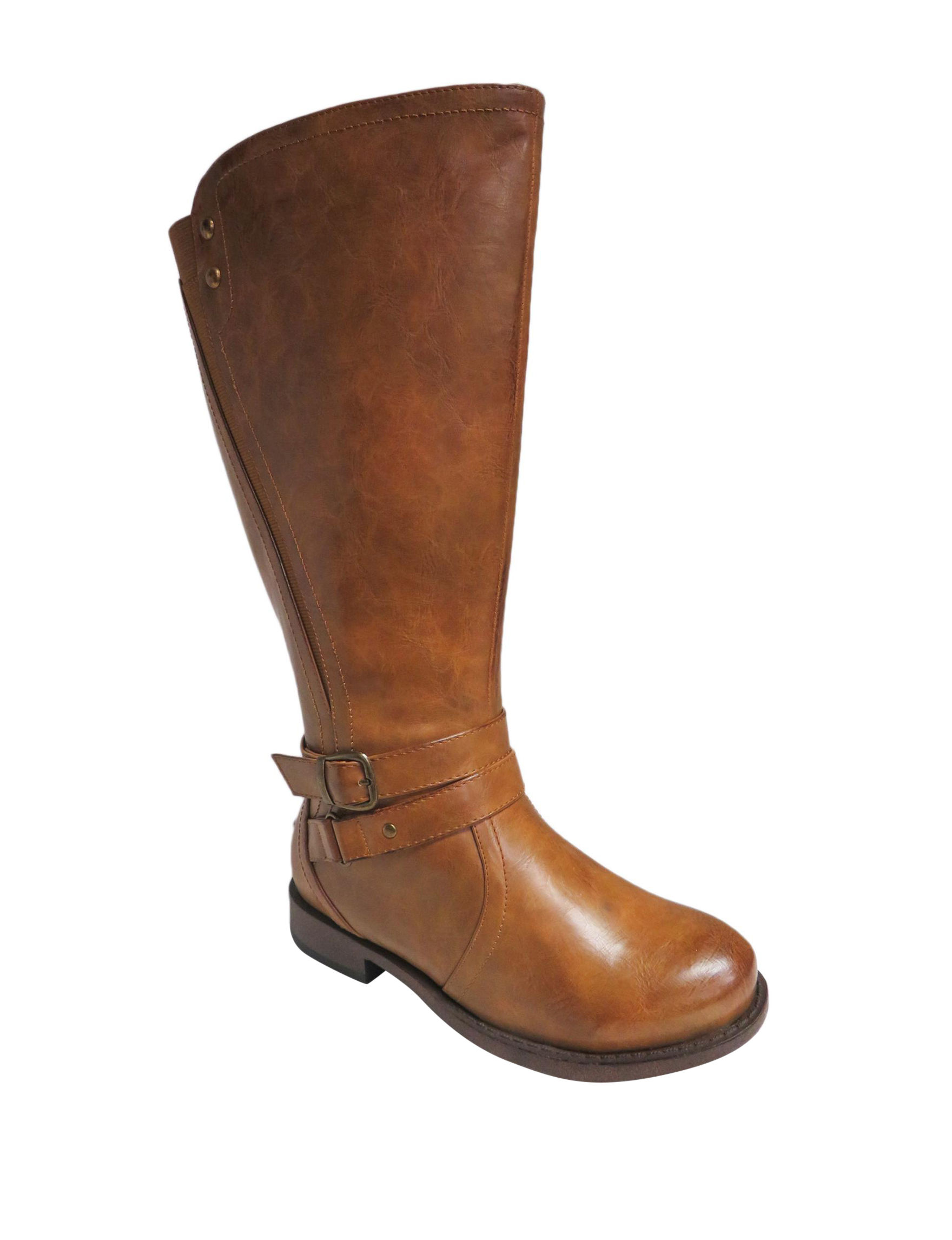 Celebrity Pink Tan Riding Boots Wide Calf