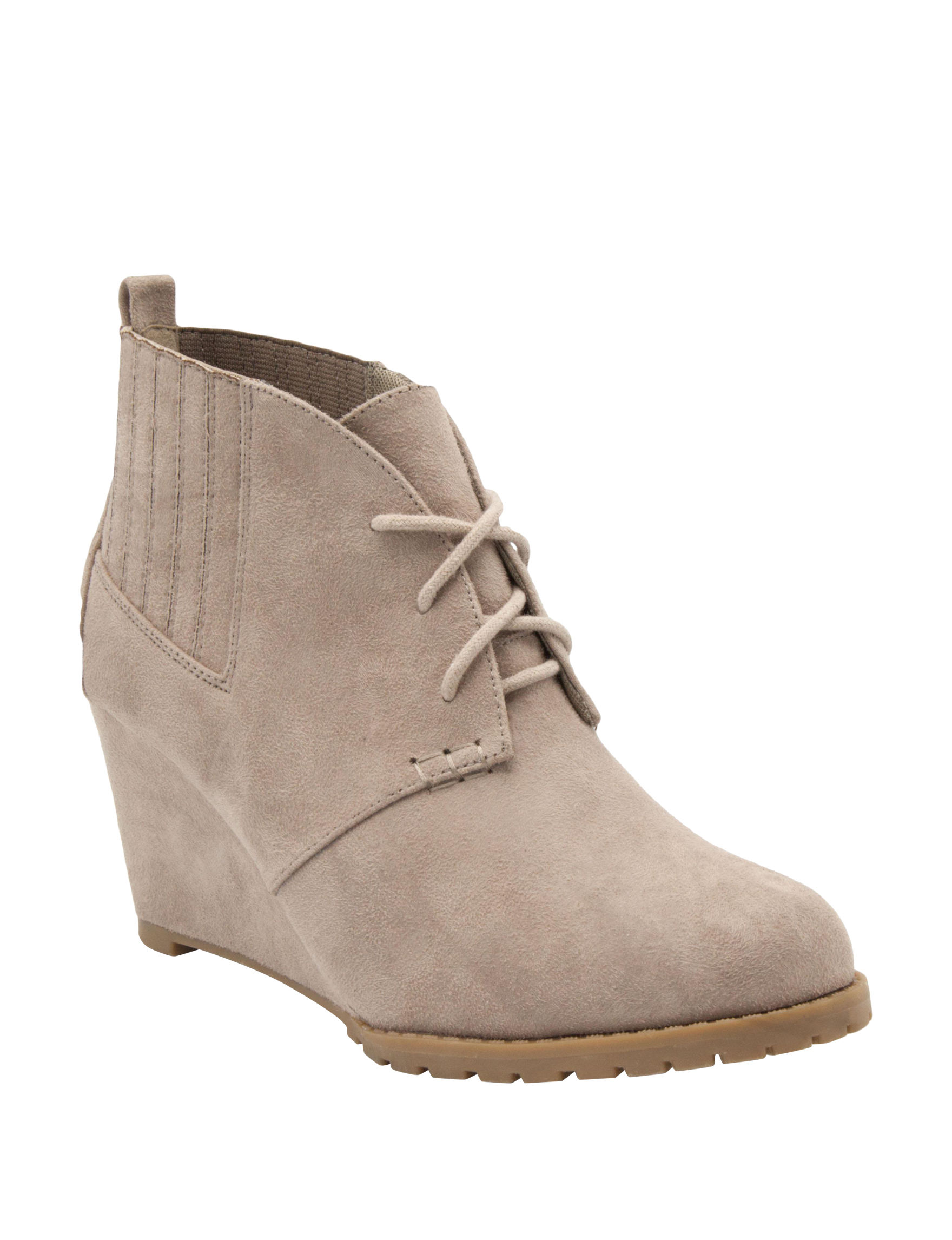 Rampage Taupe Ankle Boots & Booties Wedge Boots