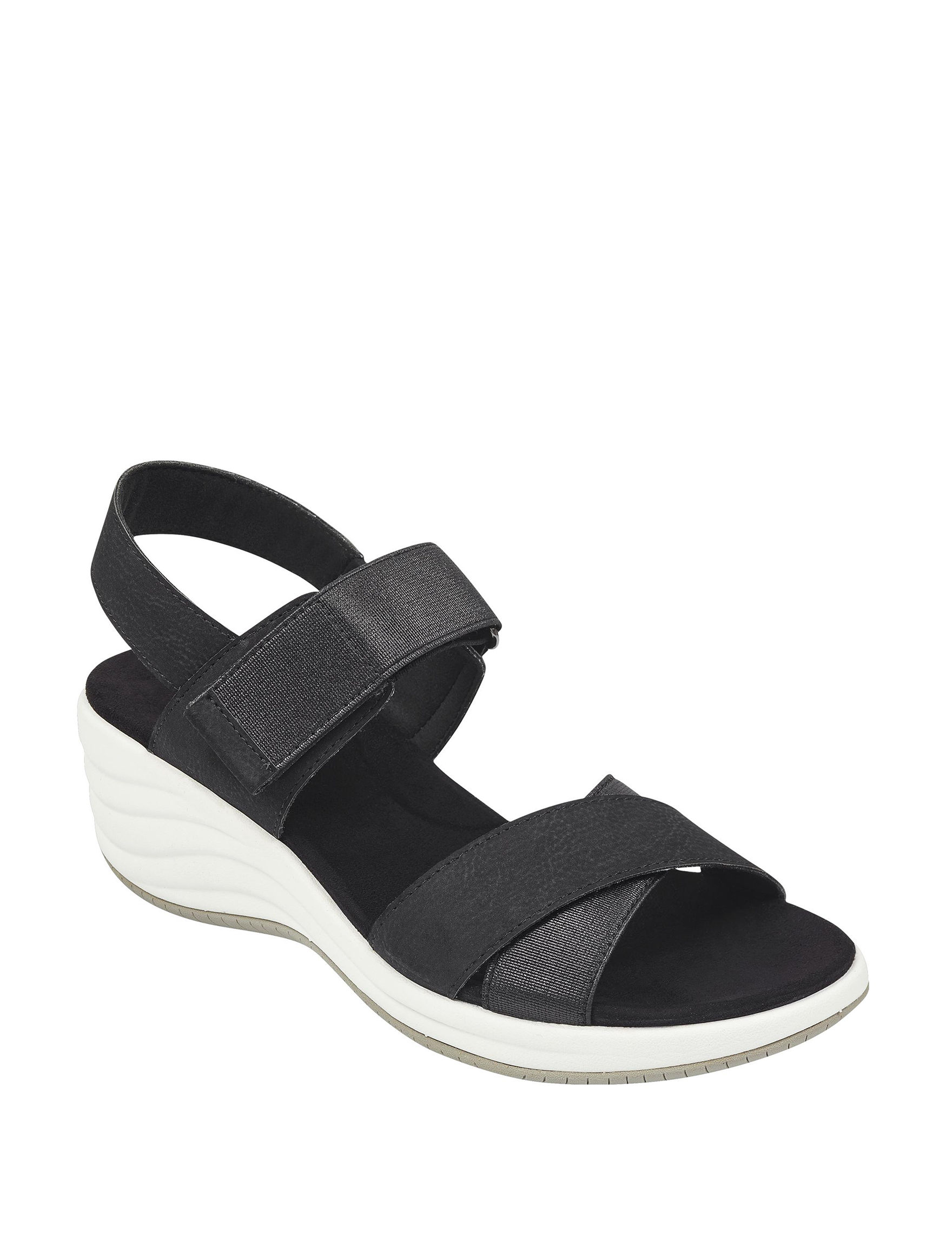 Easy Spirit Black Wedge Sandals