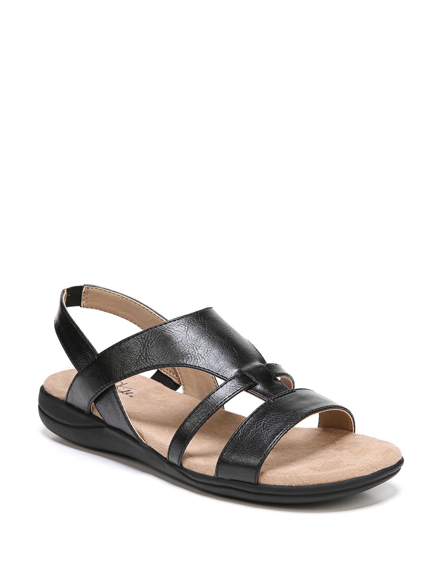 Lifestride Black Flat Sandals Footbed Comfort