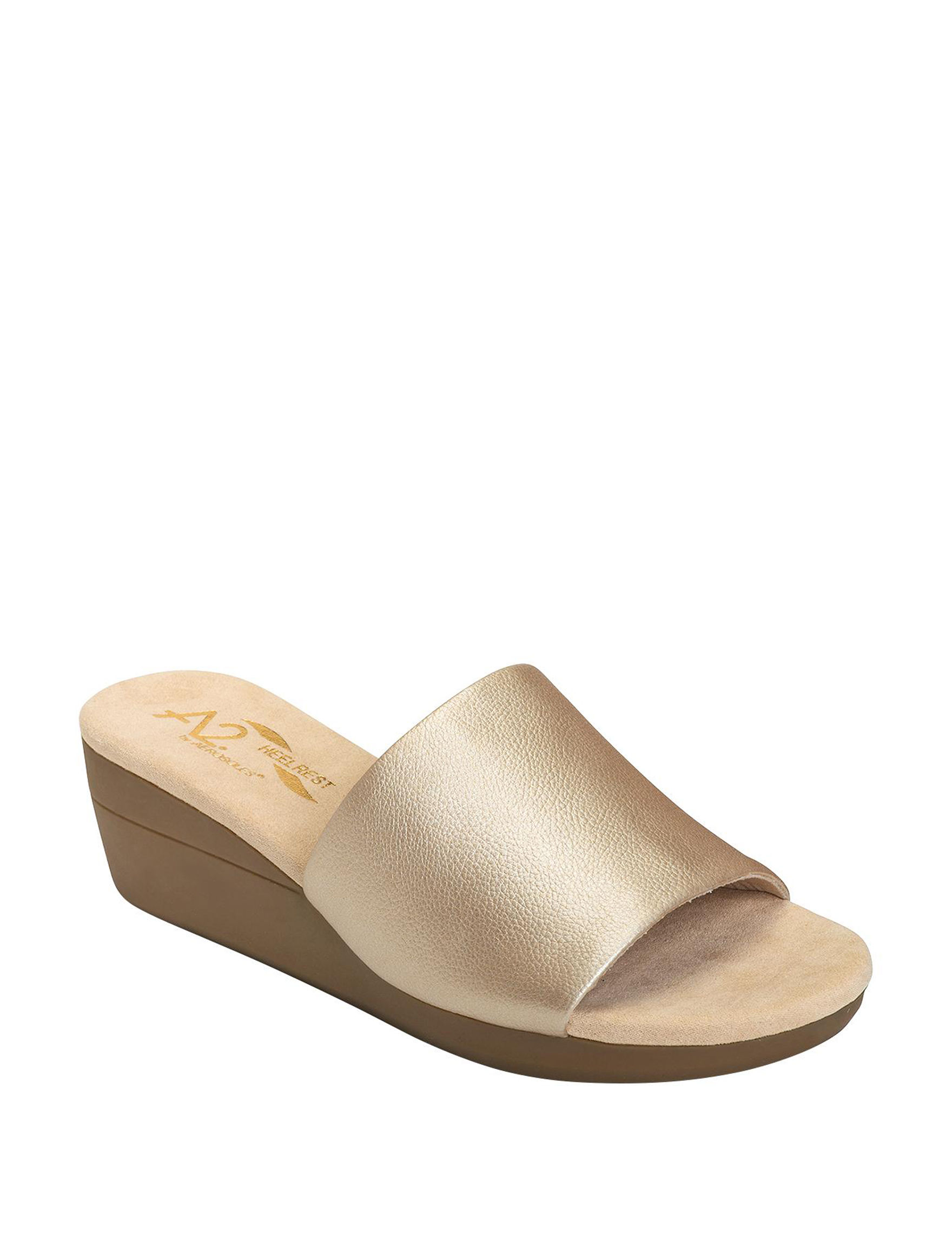 A2 by Aerosoles Gold Wedge Sandals