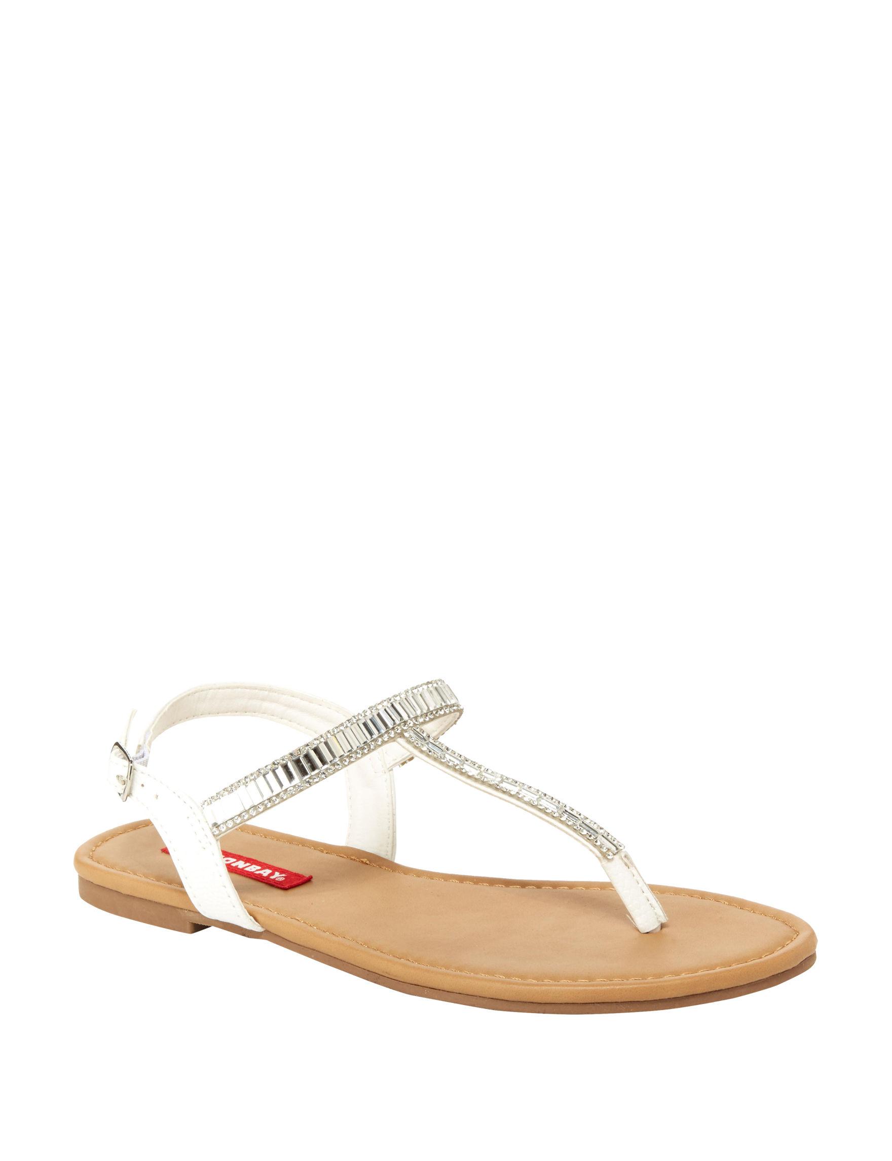 Union Bay White Flat Sandals