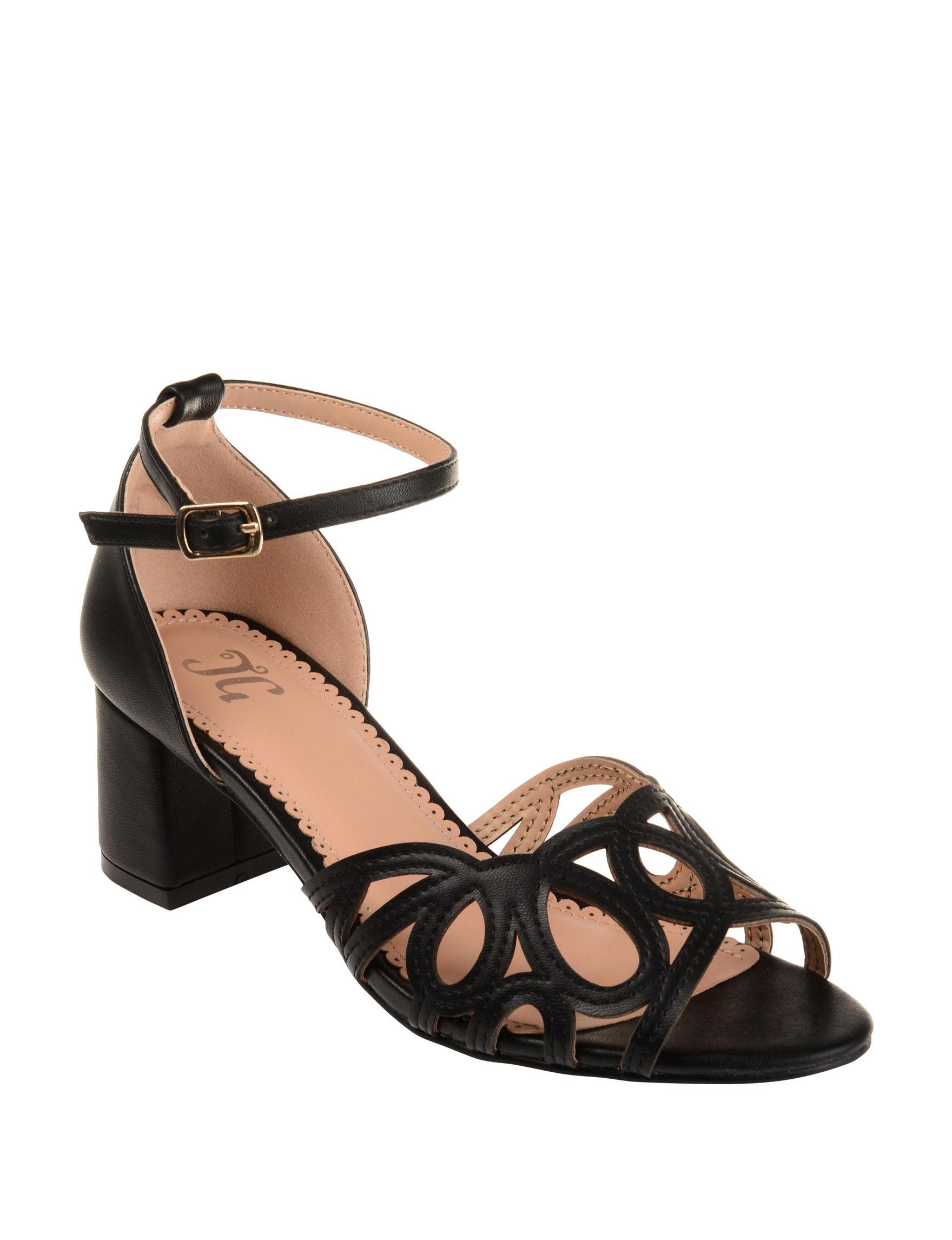 Journee Black Heeled Sandals