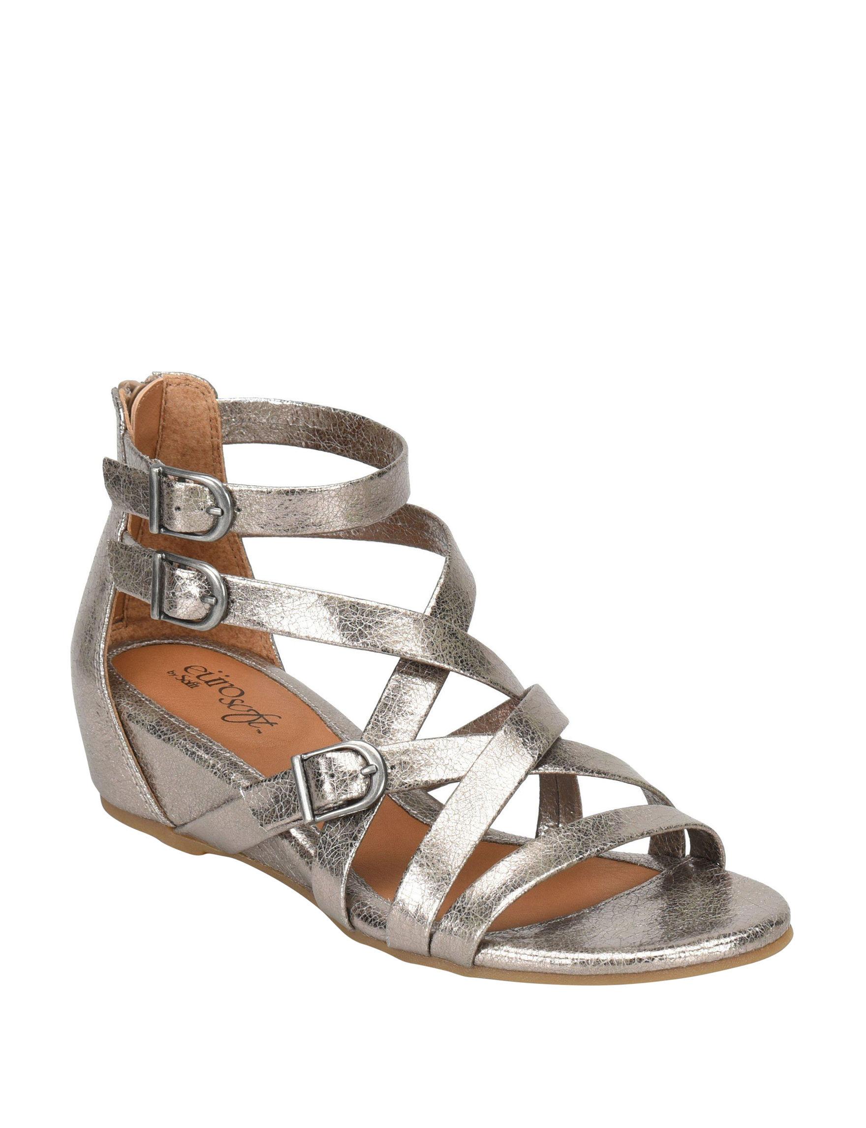 19b4fcfc6aee Eurosoft Silver Wedge Sandals