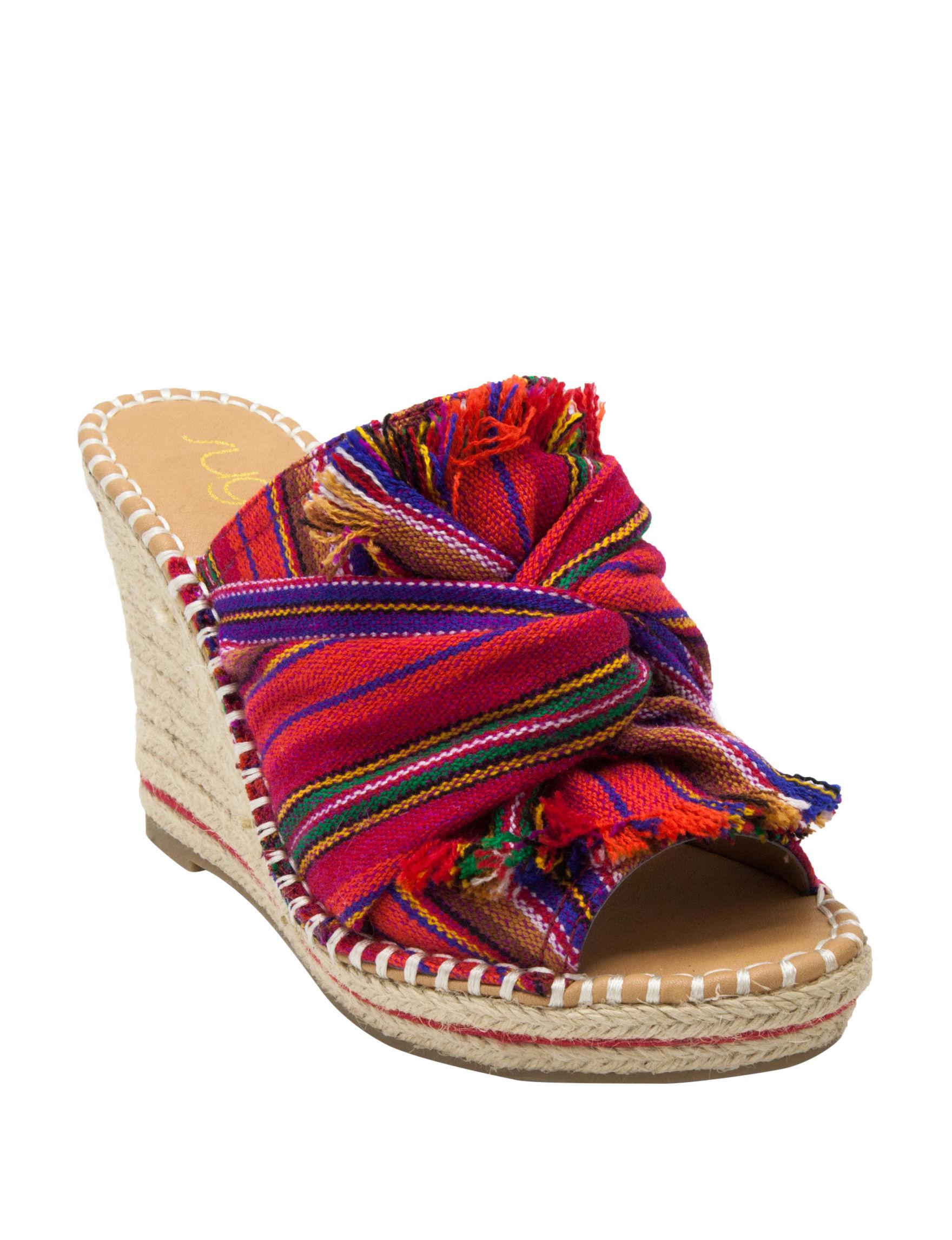 Sugar Red Stripe Multi Wedge Sandals