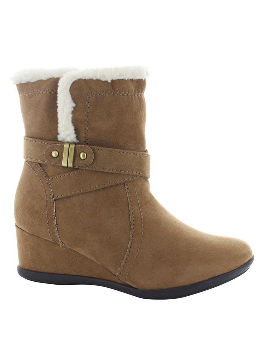 Italian Shoemakers Taupe Ankle Boots & Booties Wedge Boots