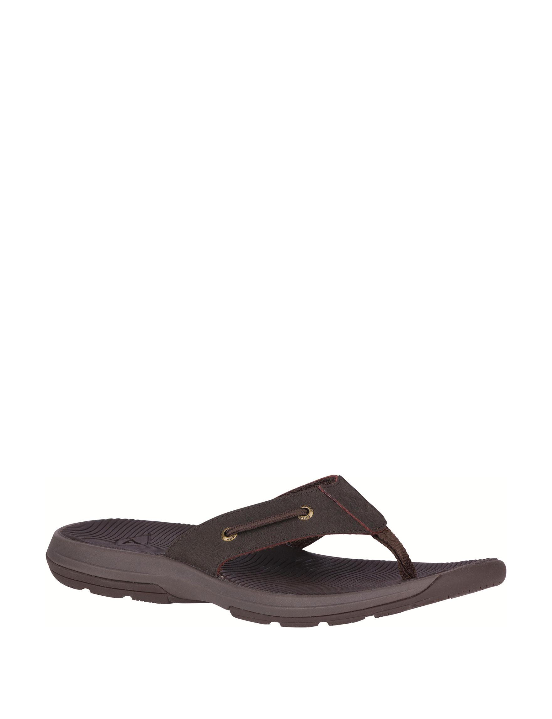 Sperry Brown Flip Flops
