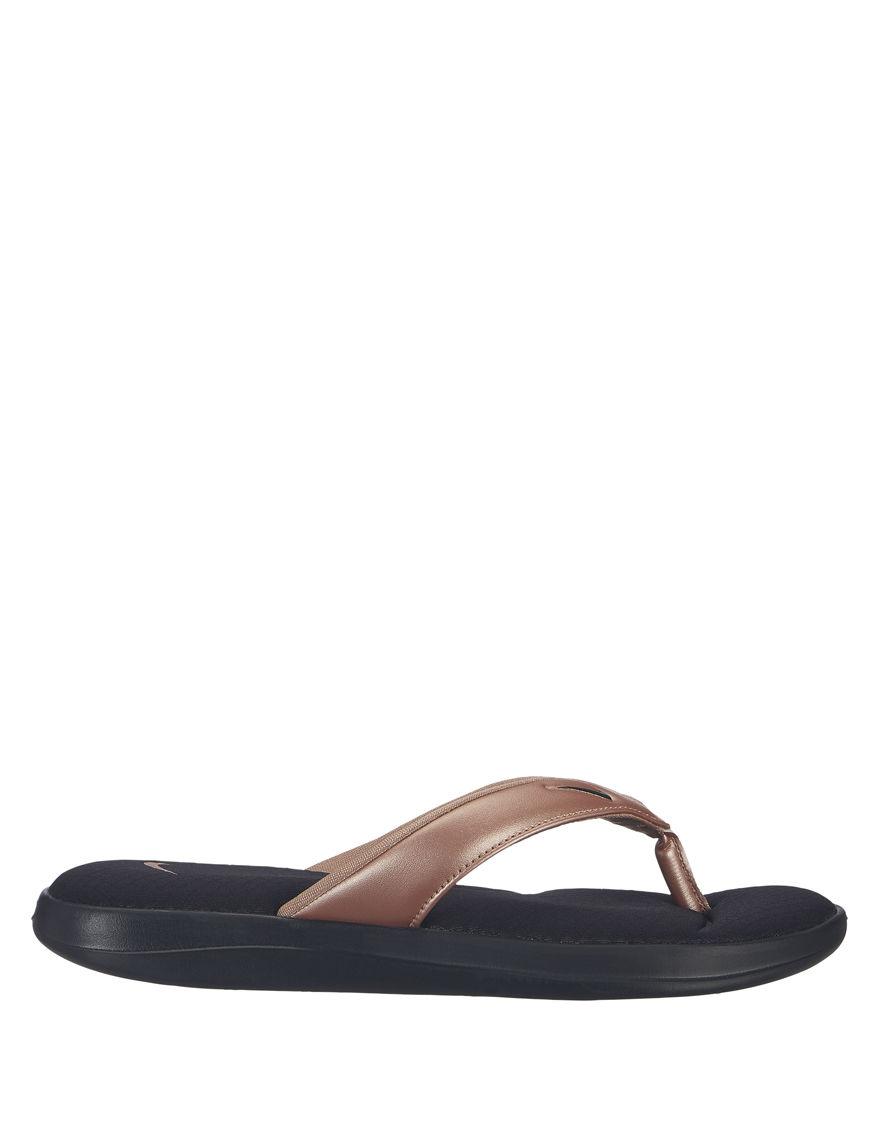 Nike Black / Gold Flip Flops