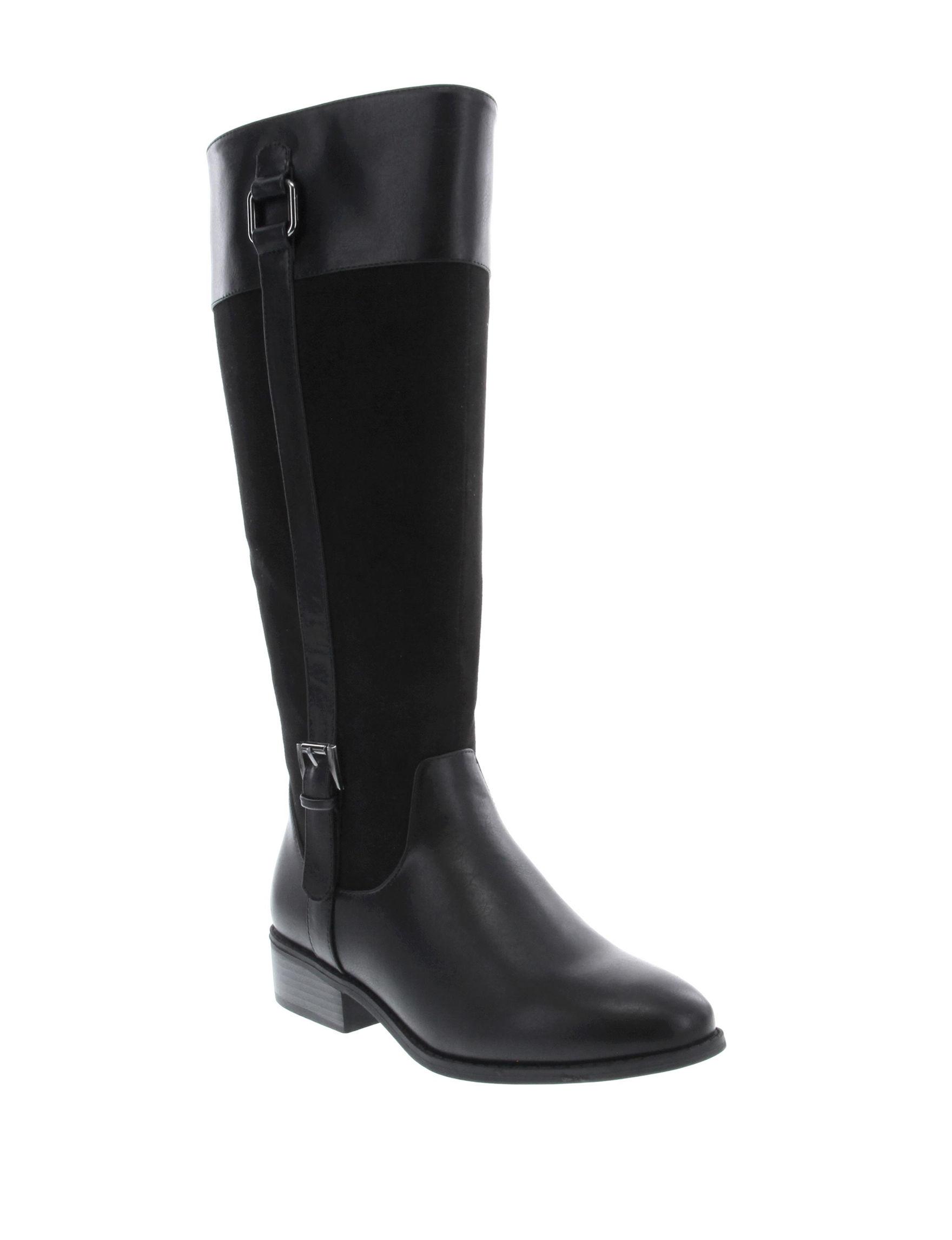 London Fog Black Riding Boots Wide Calf