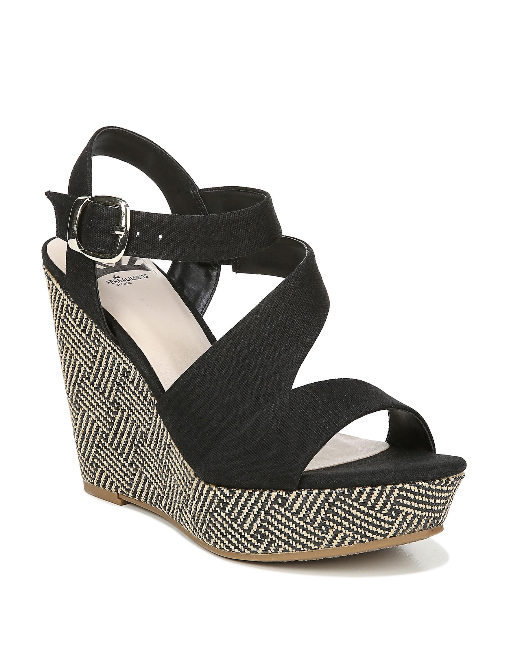 Fergalicious by Fergie Black Wedge Sandals