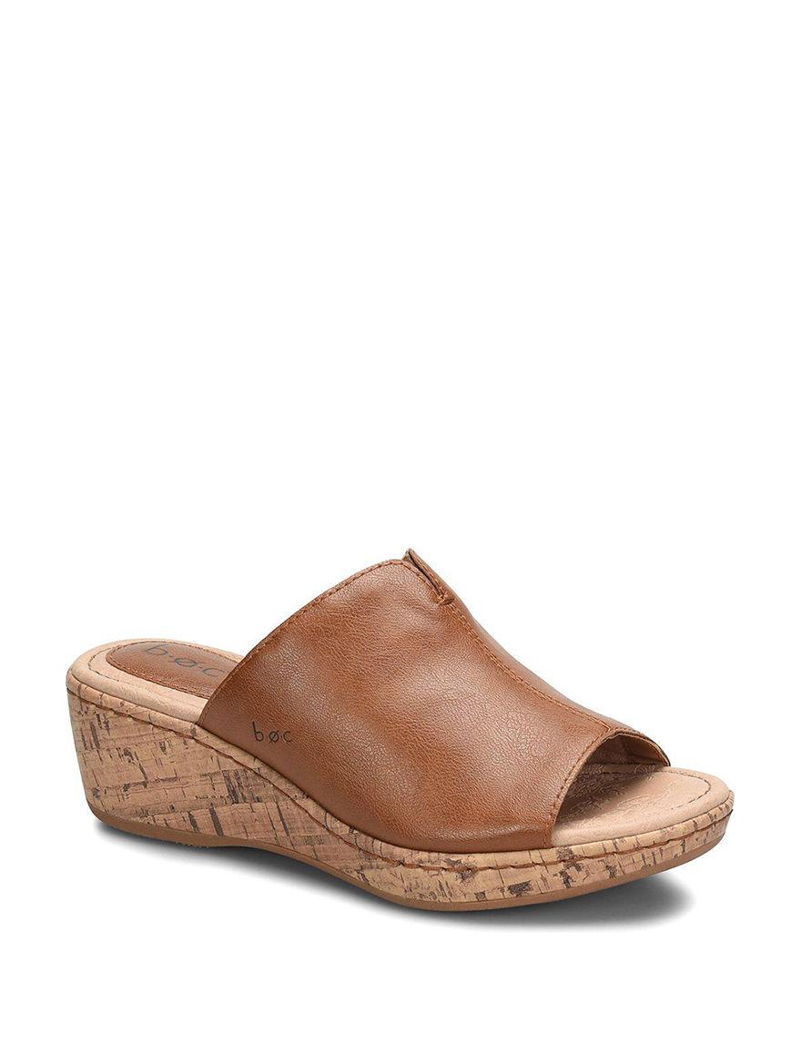B.O.C. Brown Wedge Sandals