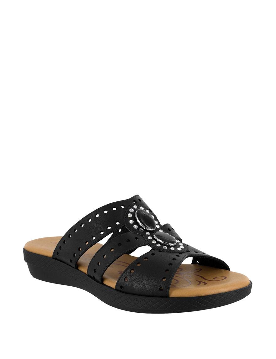 Easy Street Black Slide Sandals