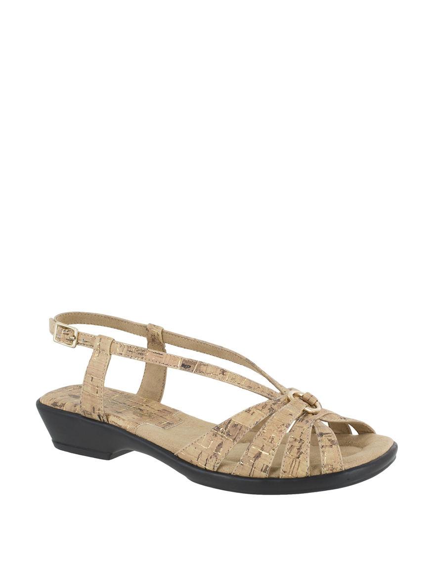 Easy Street Beige Heeled Sandals