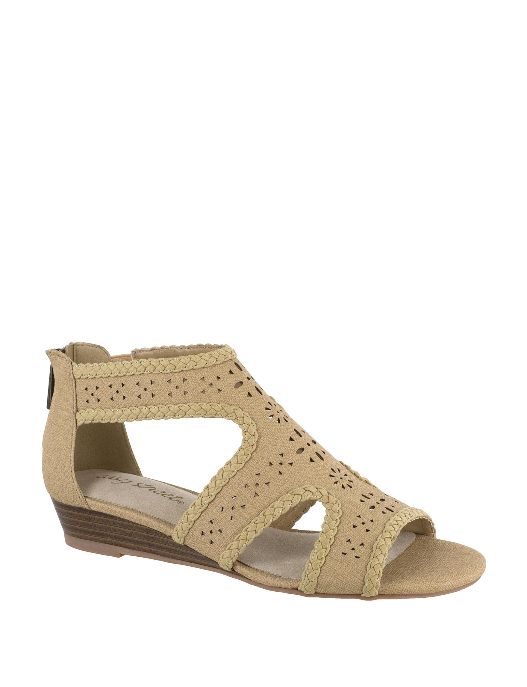 Easy Street Tan Wedge Sandals