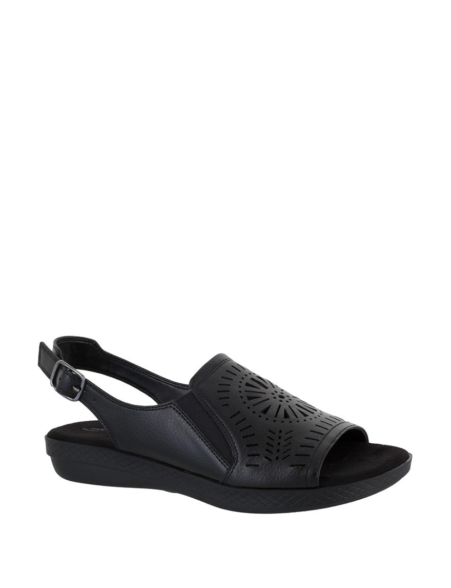 Easy Street Black Flat Sandals