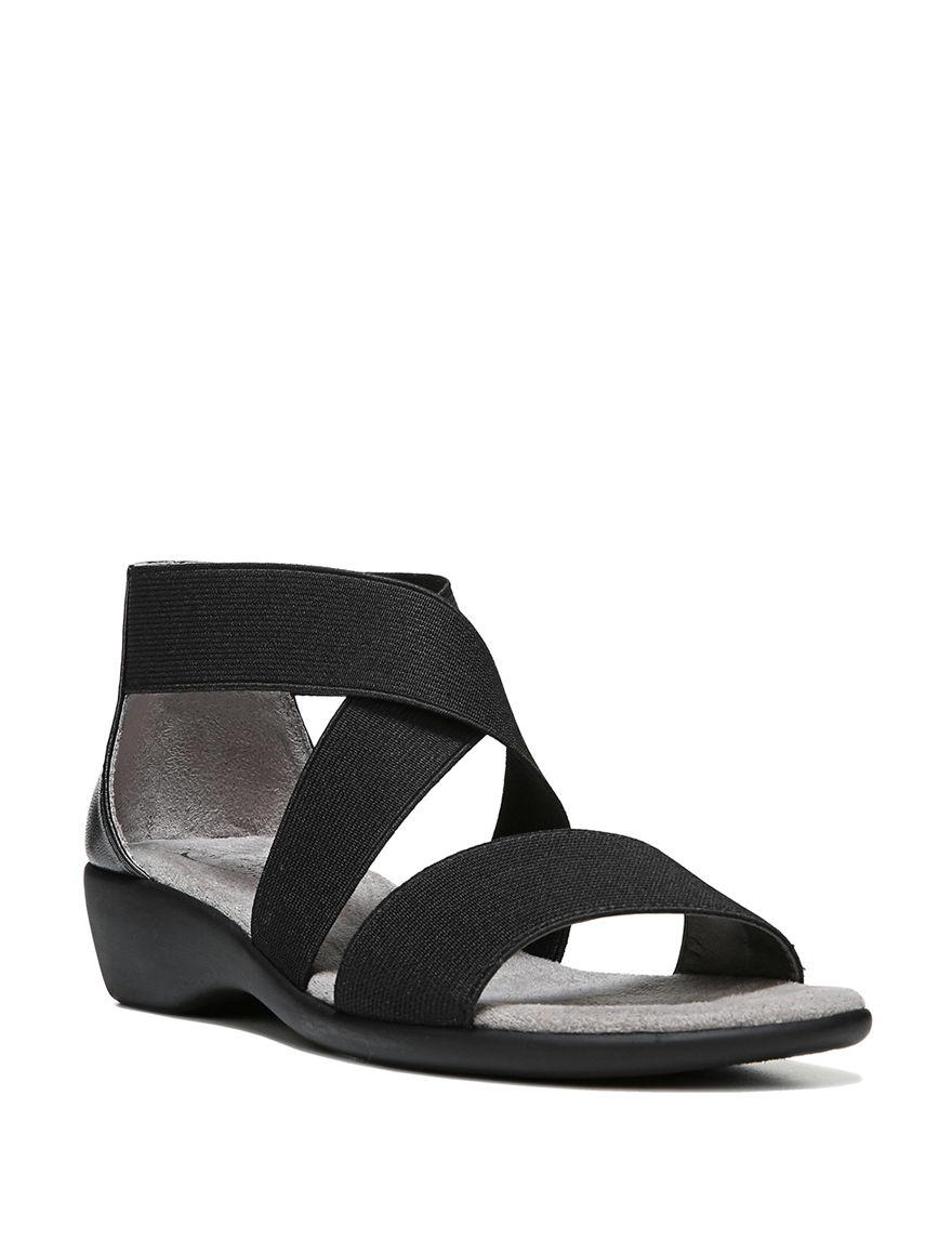 Lifestride Black Flat Sandals Wedge Sandals