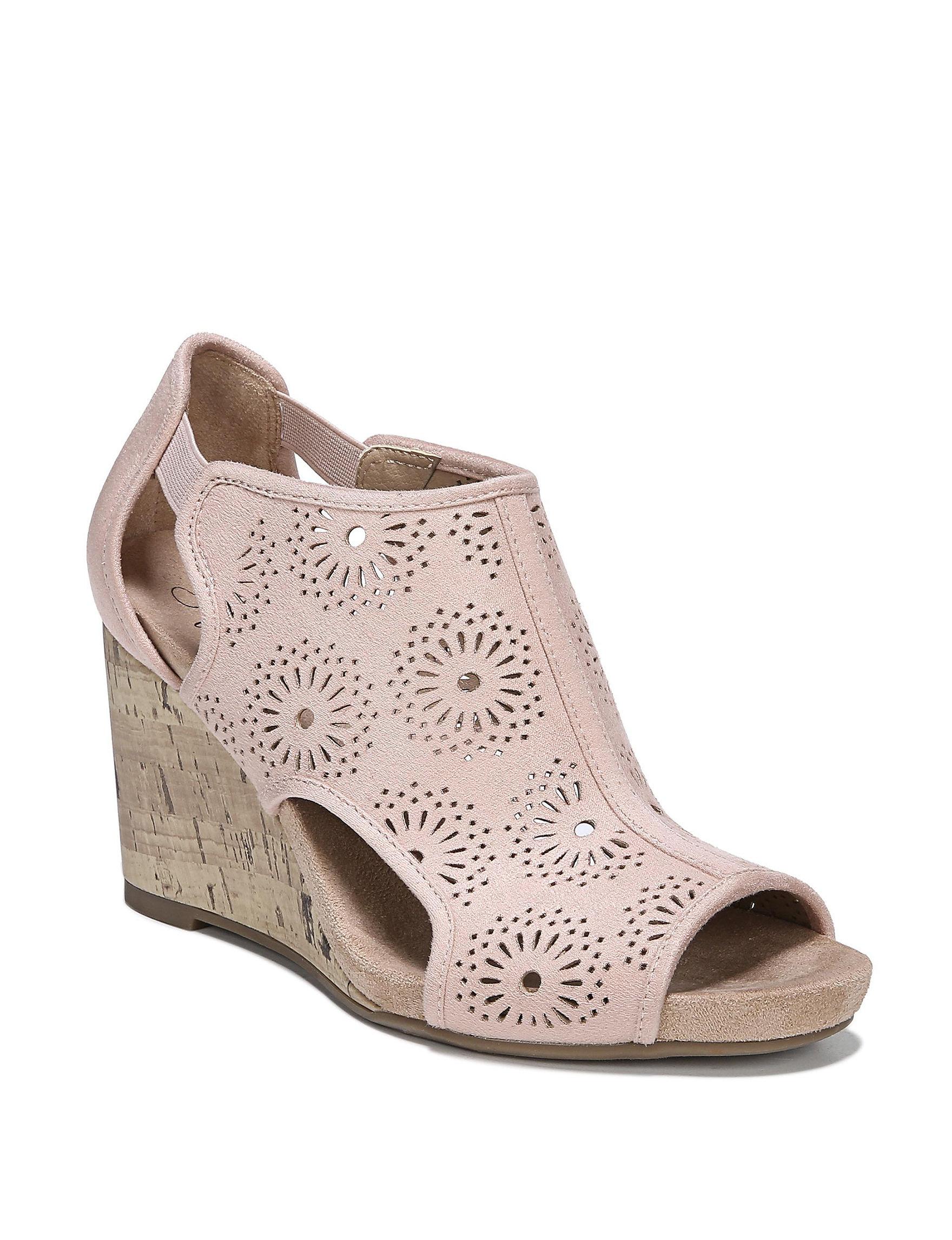 Lifestride Blush Peep Toe Wedge Sandals
