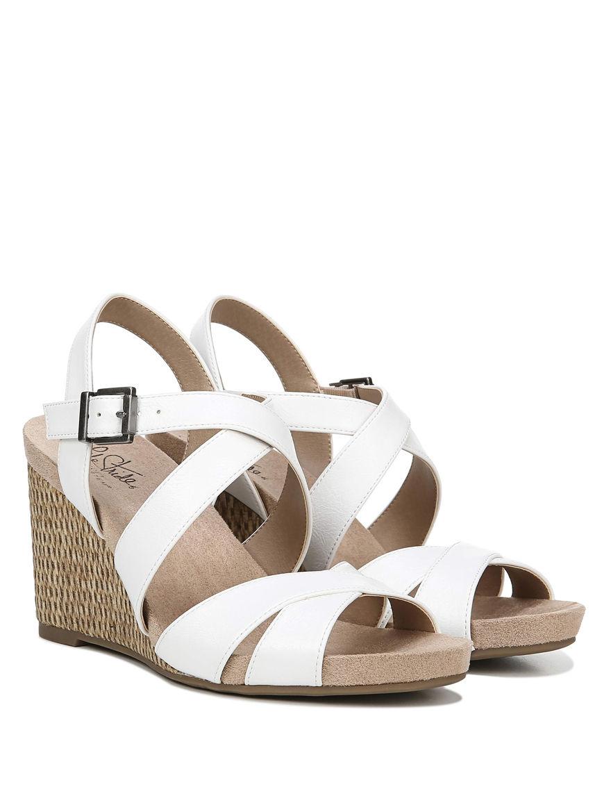 Lifestride White / Tan Wedge Sandals