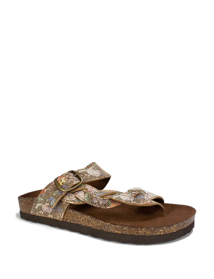 White Mountain Gold Flat Sandals Footbed