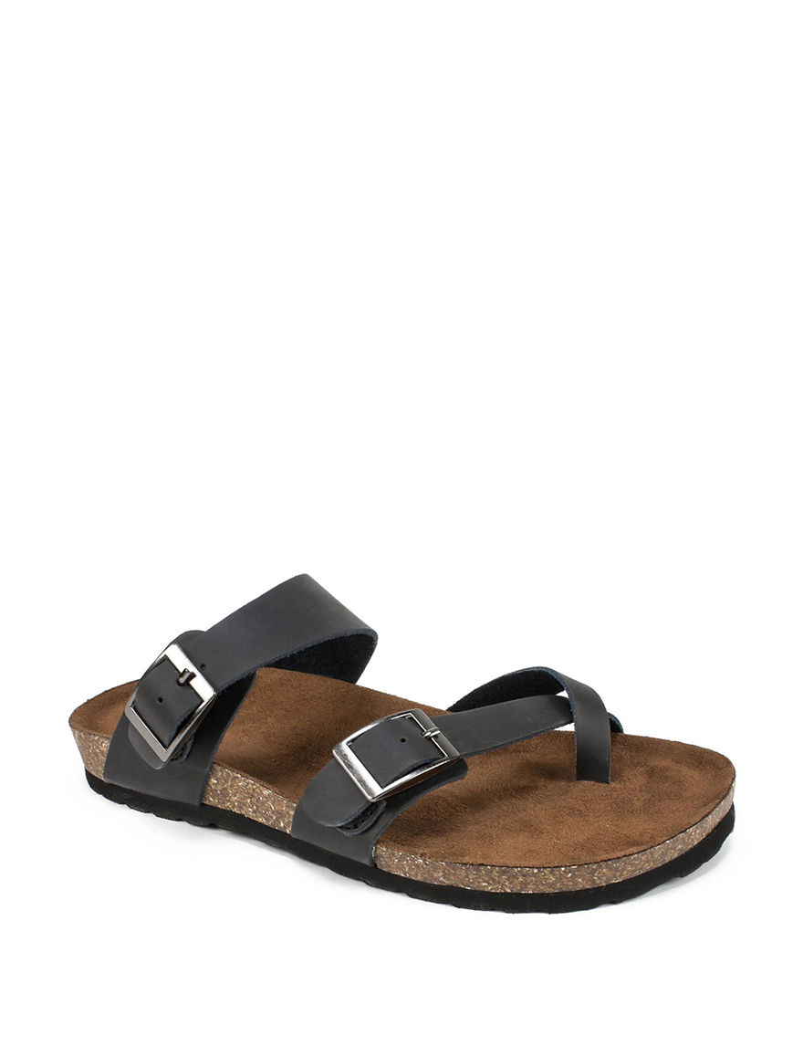 White Mountain Black / Brown Flat Sandals Footbed