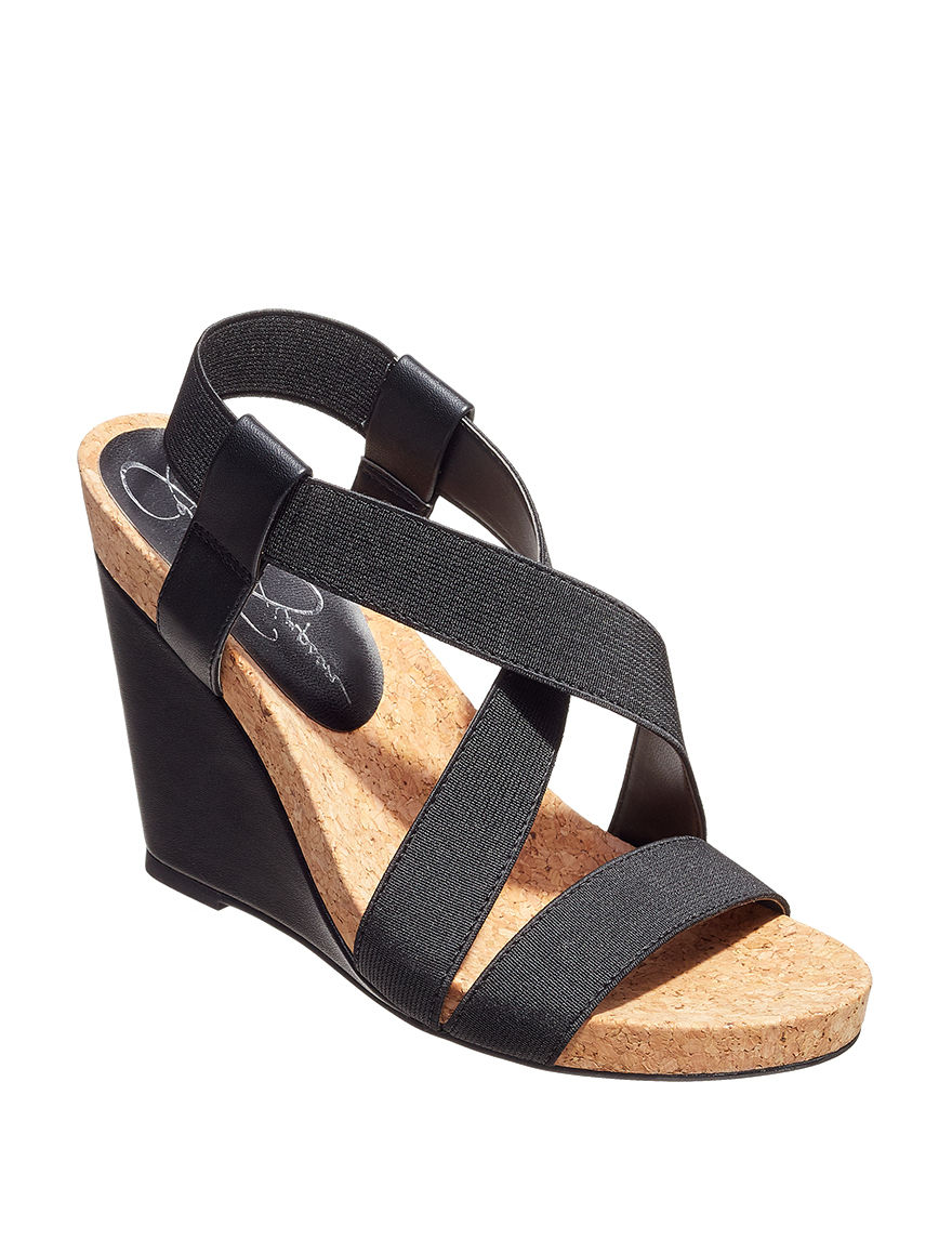 Jessica Simpson Black Wedge Sandals