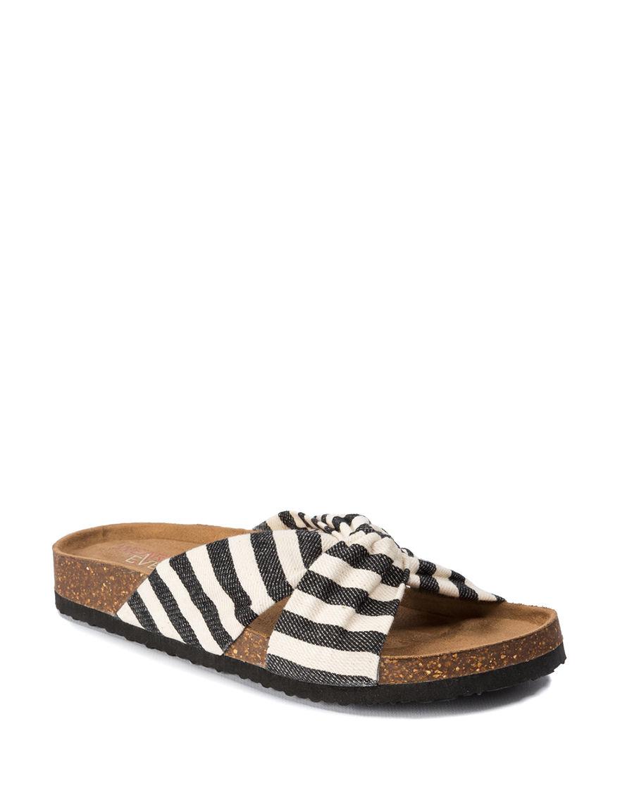 Wear. Ever. White / Black Flat Sandals Footbed Slide Sandals