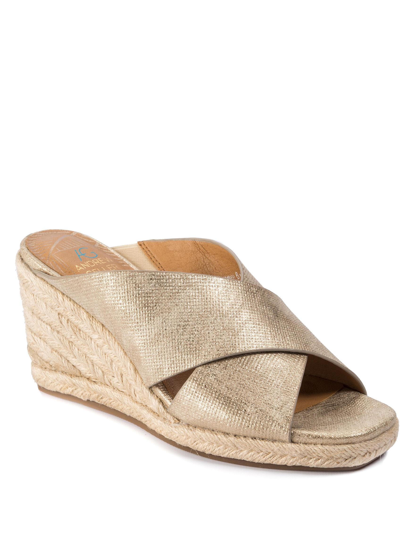 Andrew Geller Gold Wedge Sandals
