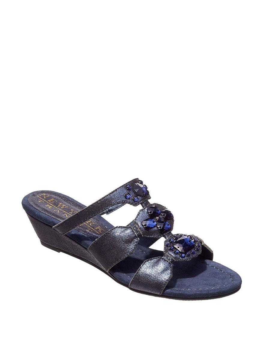 New York Transit Navy Wedge Sandals