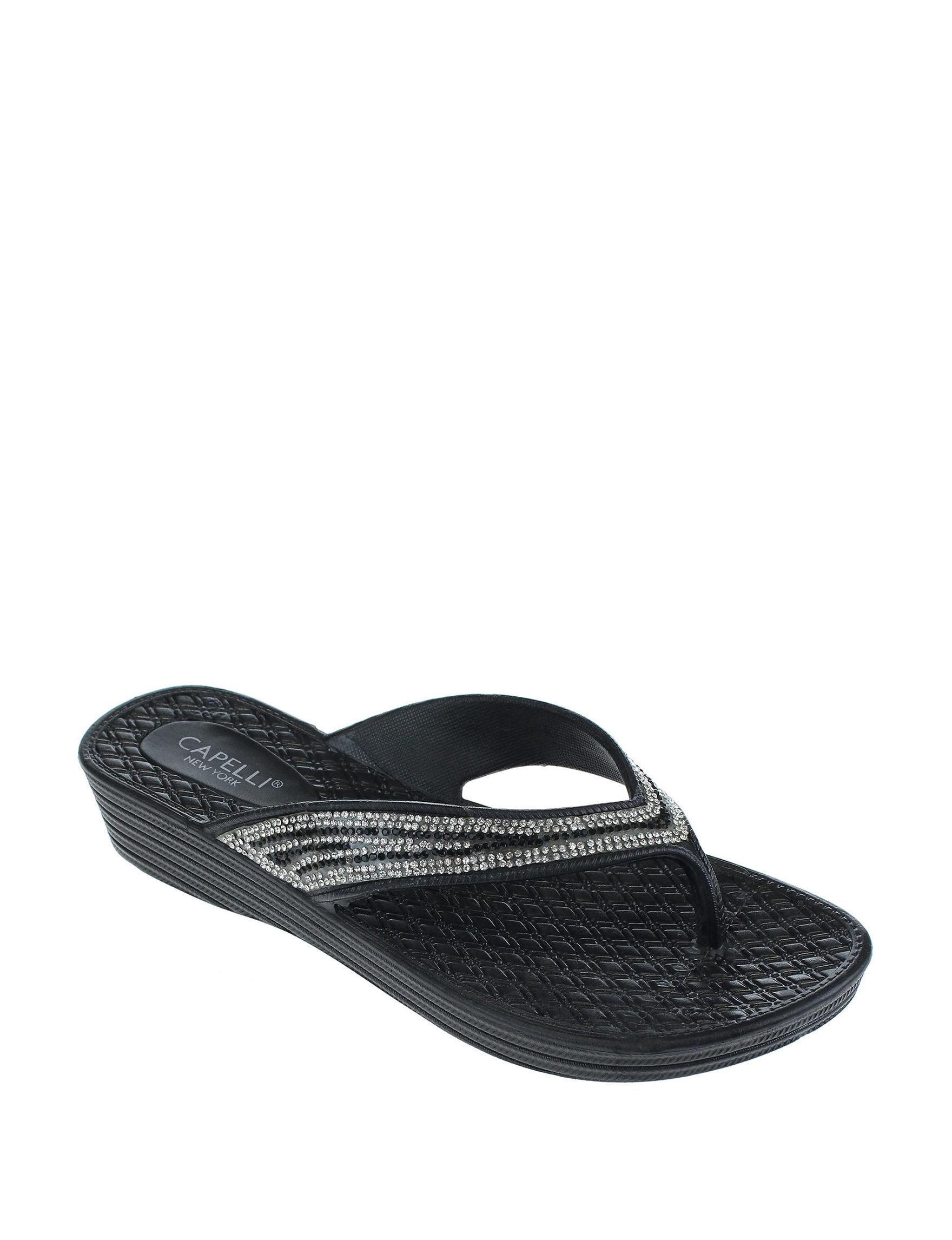 Capelli Black Flip Flops Wedge Sandals