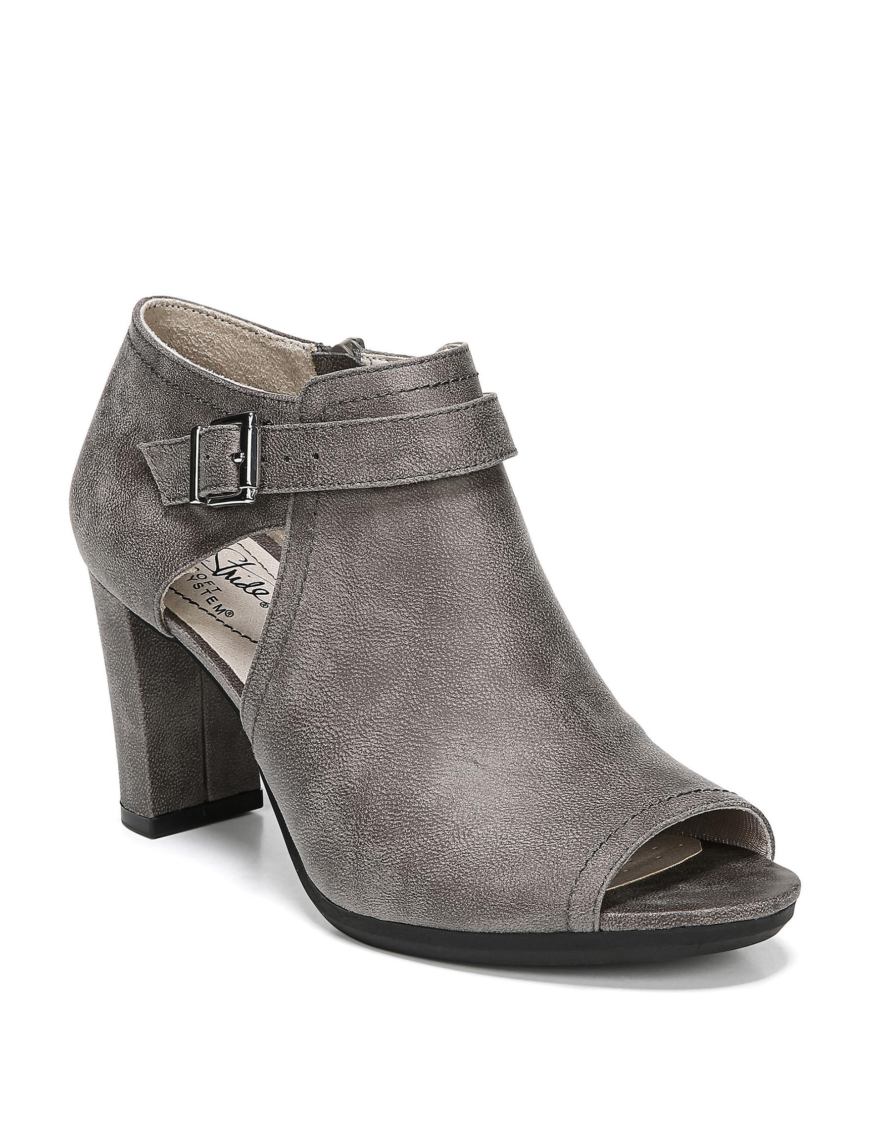 Lifestride Grey Ankle Boots & Booties Peep Toe