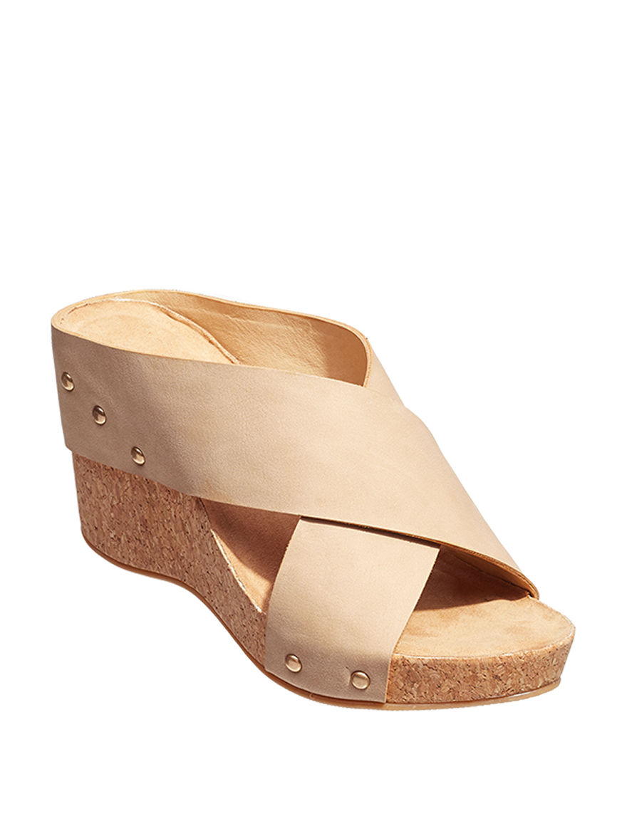 CL by Laundry Beige Wedge Sandals