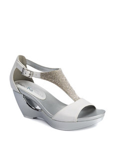 58358089084 Andrew Geller Women s Arana Faux Leather Rhinestone Wedge Sandals
