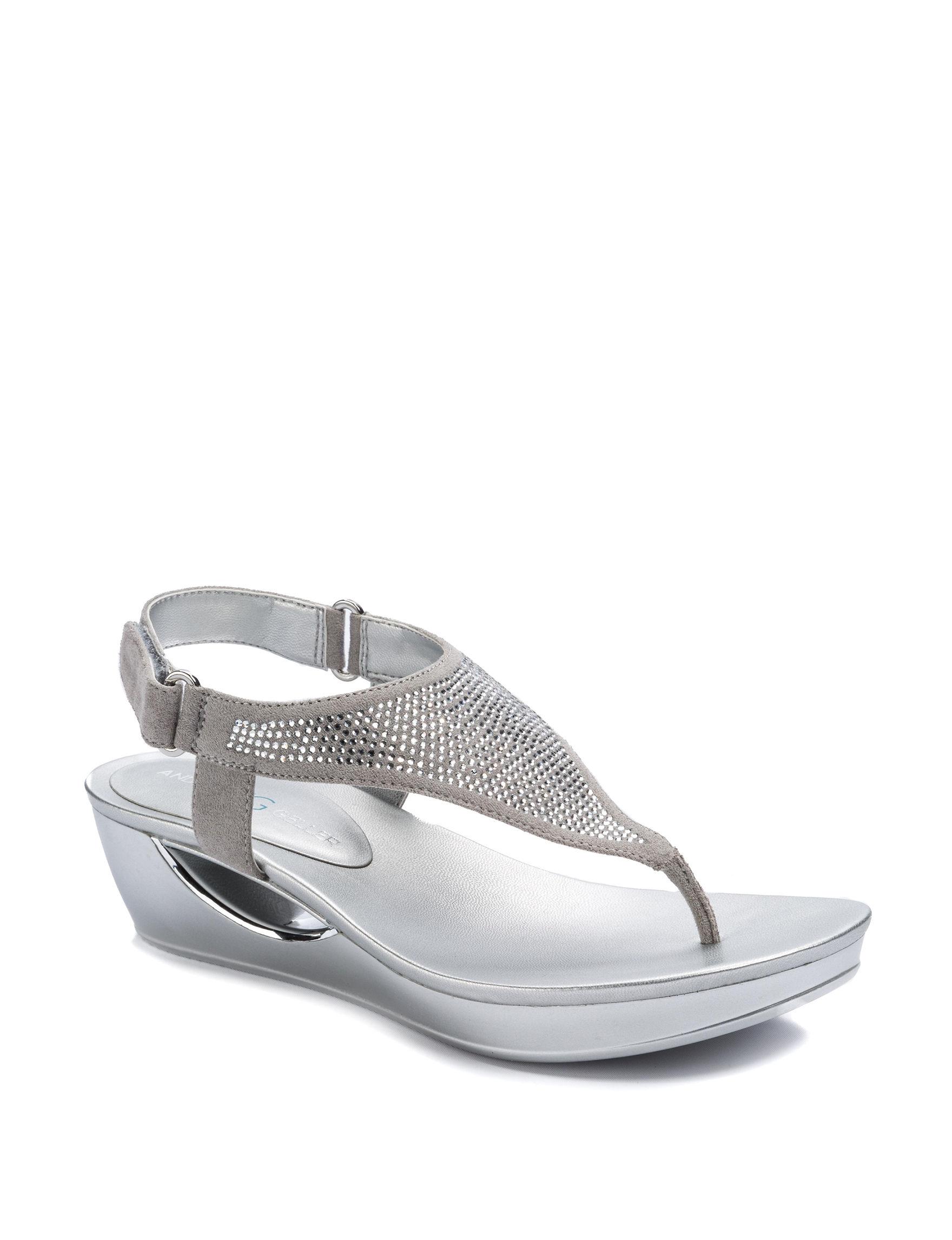 Andrew Geller Silver Wedge Sandals