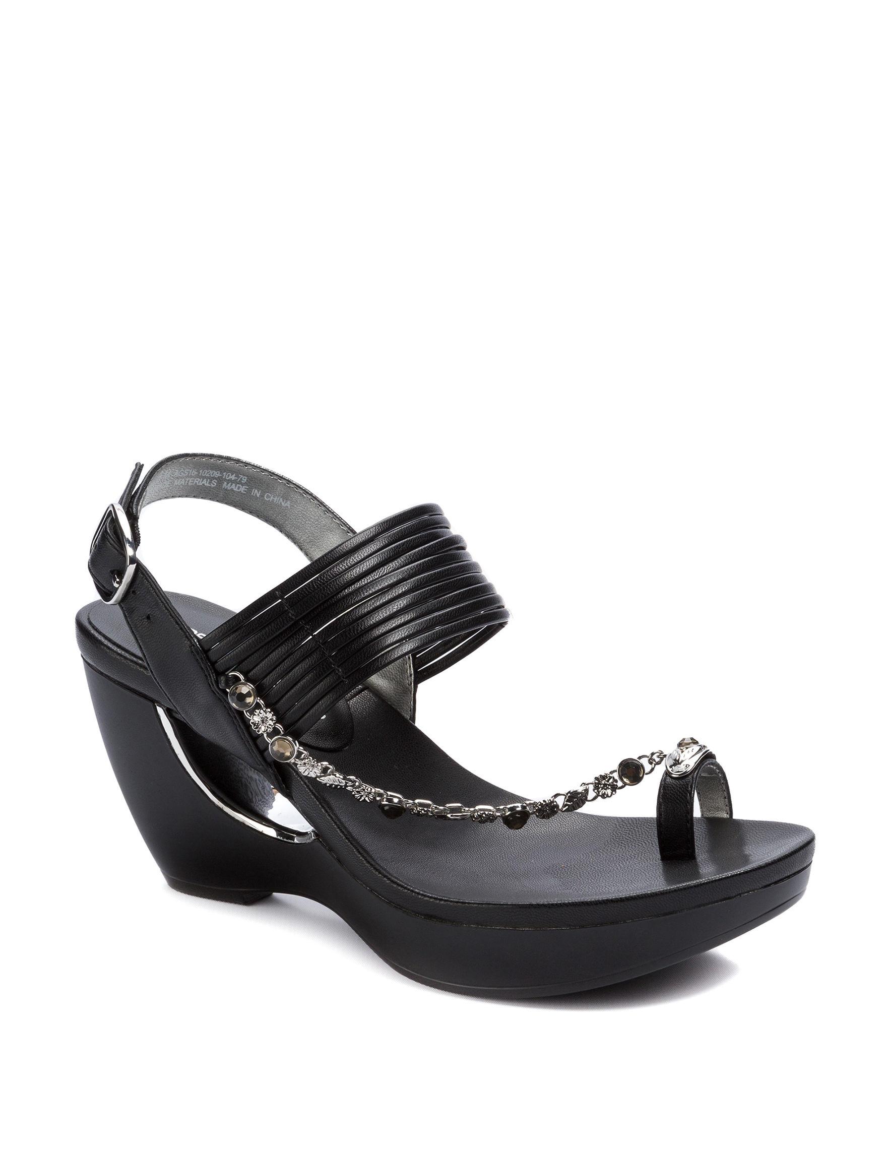 Andrew Geller Black Wedge Sandals