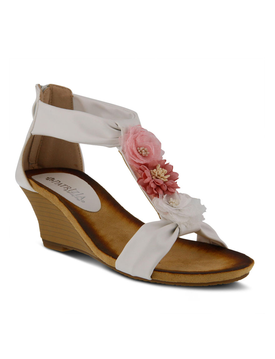 Patrizia White / Pink Wedge Sandals
