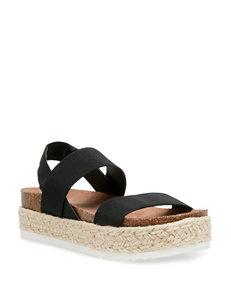 4aa0d3f5b6aa Doorbuster Madden Girl Black Espadrille Flat Sandals Footbed Platform